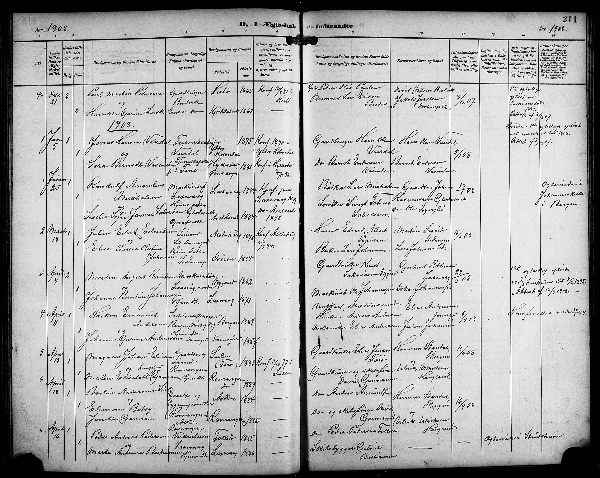 SAB, Laksevåg Sokneprestembete, H/Ha/Hab/Haba/L0004: Klokkerbok nr. A 4, 1899-1909, s. 211