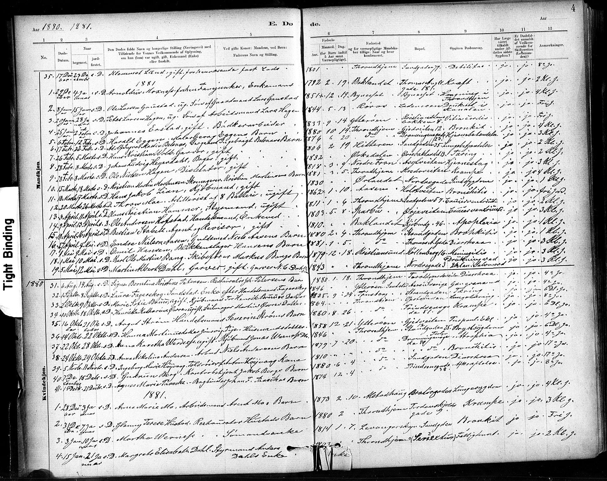 SAT, Ministerialprotokoller, klokkerbøker og fødselsregistre - Sør-Trøndelag, 602/L0120: Ministerialbok nr. 602A18, 1880-1913, s. 4