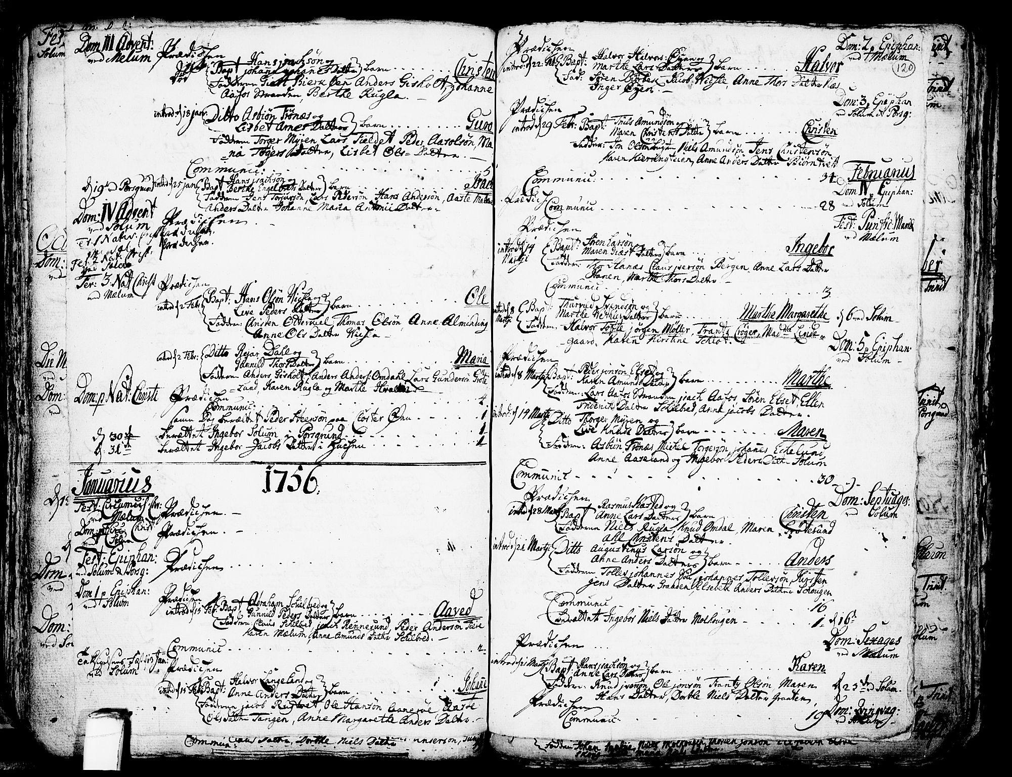 SAKO, Solum kirkebøker, F/Fa/L0002: Ministerialbok nr. I 2, 1713-1761, s. 120