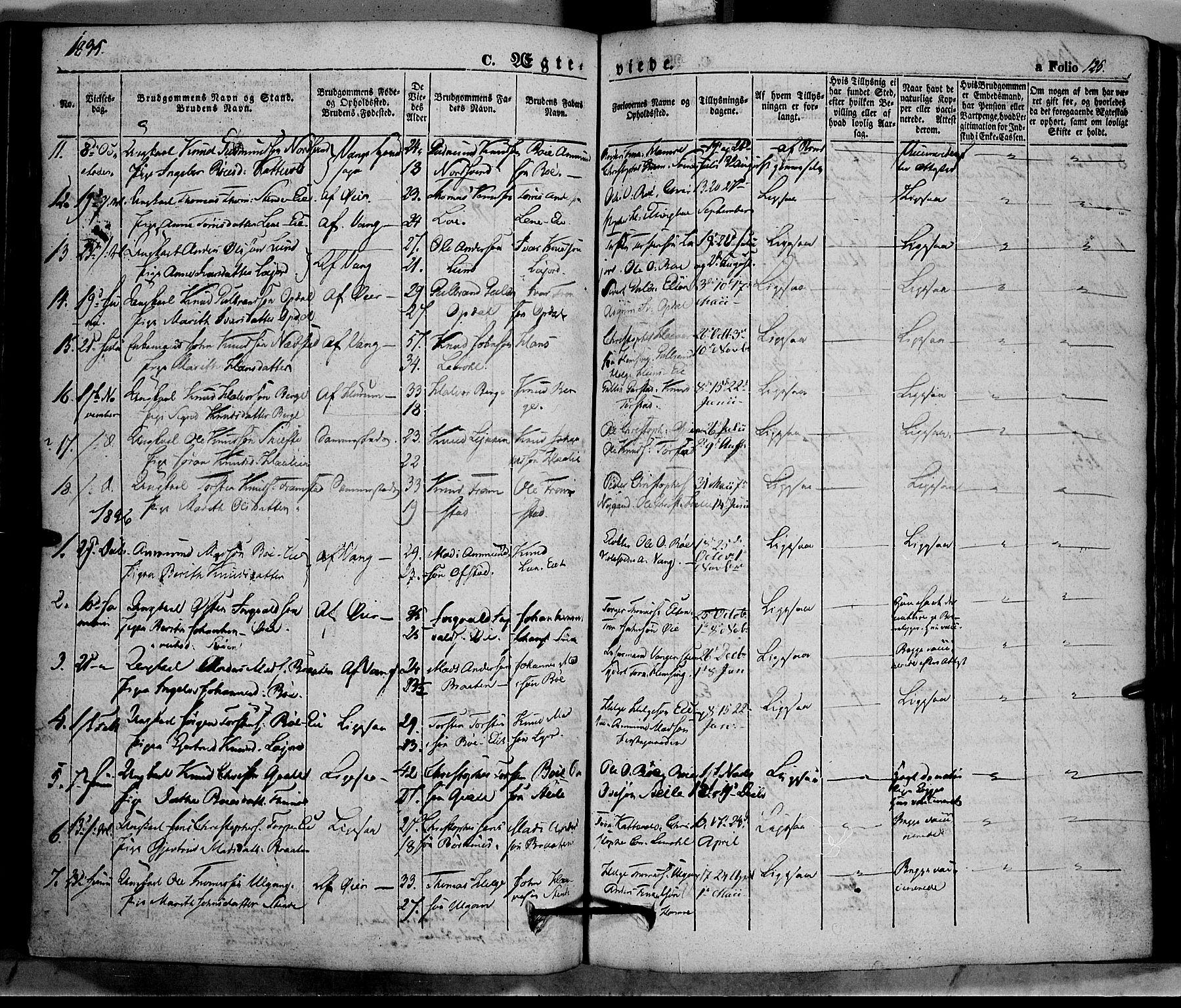 SAH, Vang prestekontor, Valdres, Ministerialbok nr. 5, 1831-1845, s. 125