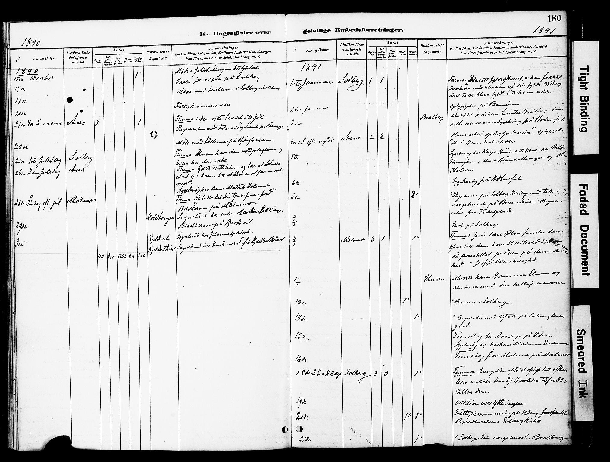 SAT, Ministerialprotokoller, klokkerbøker og fødselsregistre - Nord-Trøndelag, 741/L0396: Ministerialbok nr. 741A10, 1889-1901, s. 180
