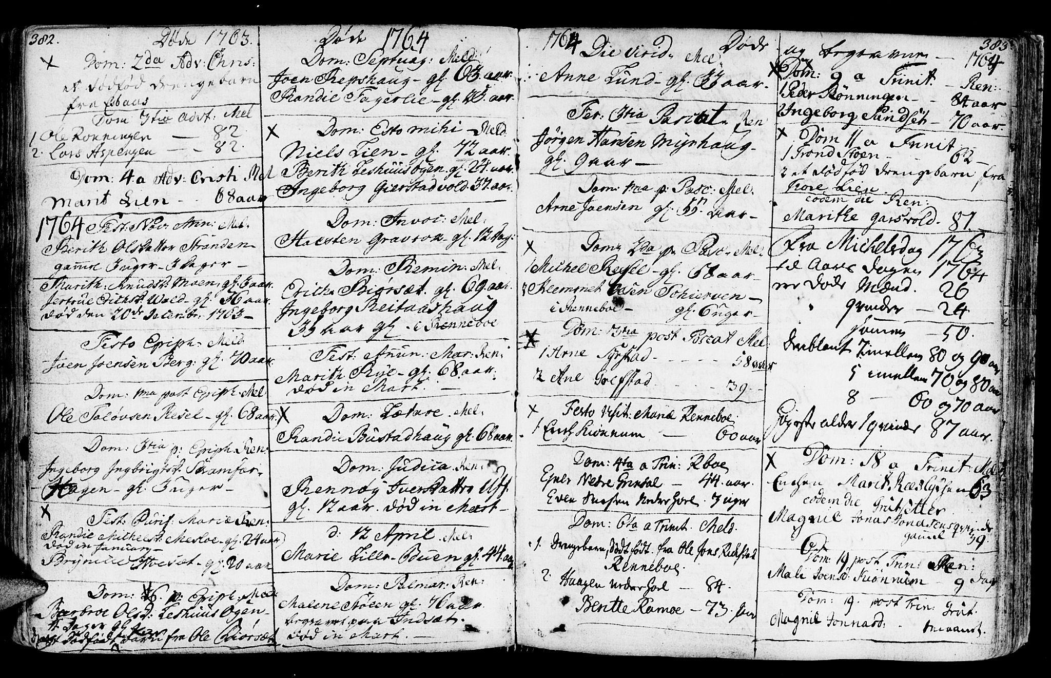 SAT, Ministerialprotokoller, klokkerbøker og fødselsregistre - Sør-Trøndelag, 672/L0851: Ministerialbok nr. 672A04, 1751-1775, s. 382-383