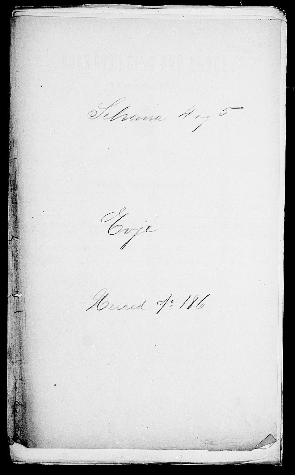SAK, Folketelling 1900 for 0937 Evje herred, 1900, s. 1