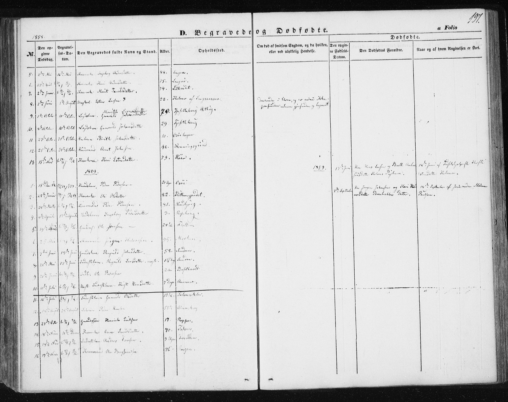 SAT, Ministerialprotokoller, klokkerbøker og fødselsregistre - Sør-Trøndelag, 685/L0964: Ministerialbok nr. 685A06 /2, 1846-1859, s. 197