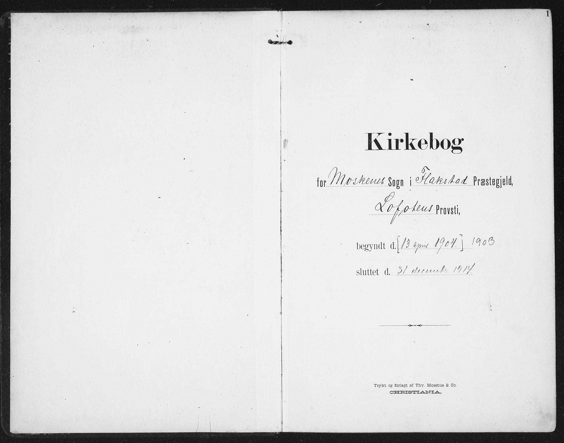 SAT, Ministerialprotokoller, klokkerbøker og fødselsregistre - Nordland, 886/L1221: Ministerialbok nr. 886A03, 1903-1913, s. 1