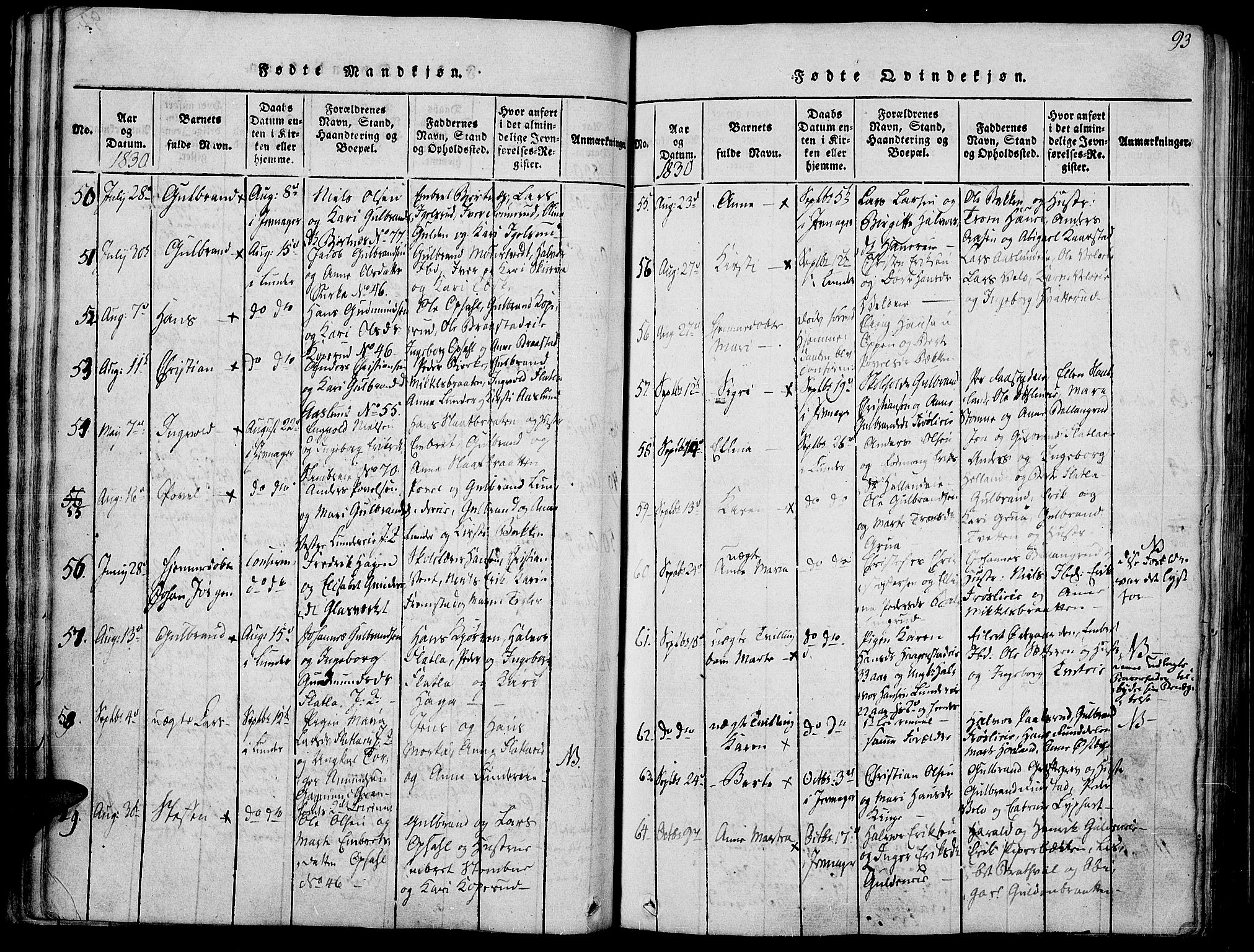 SAH, Jevnaker prestekontor, Ministerialbok nr. 5, 1815-1837, s. 93