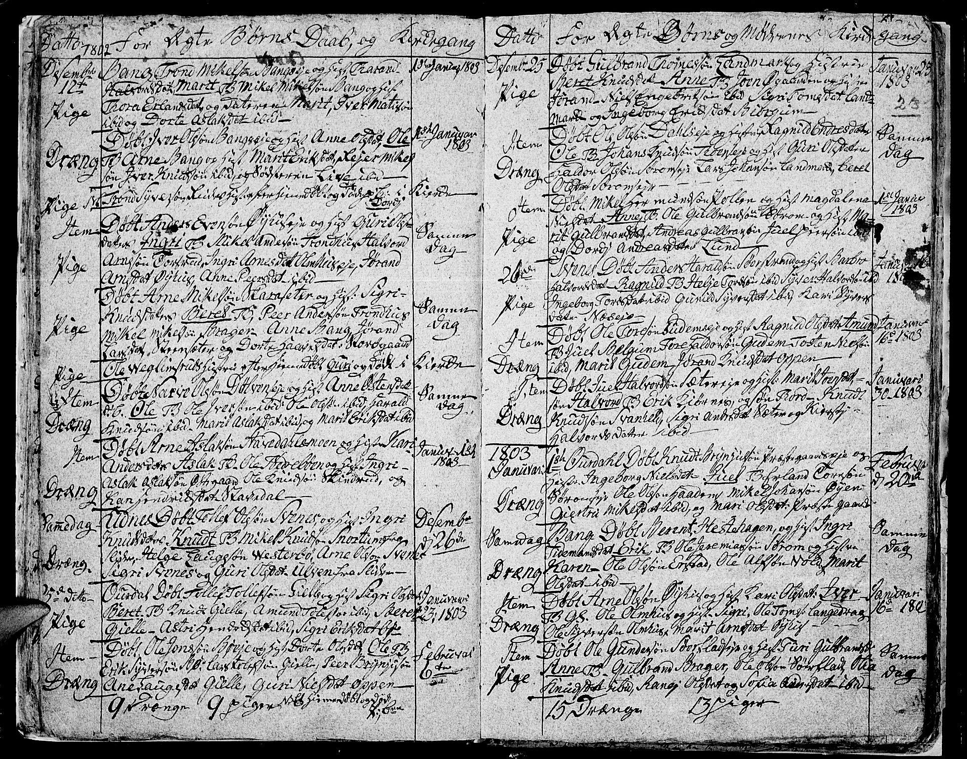 SAH, Aurdal prestekontor, Ministerialbok nr. 7, 1800-1808, s. 23