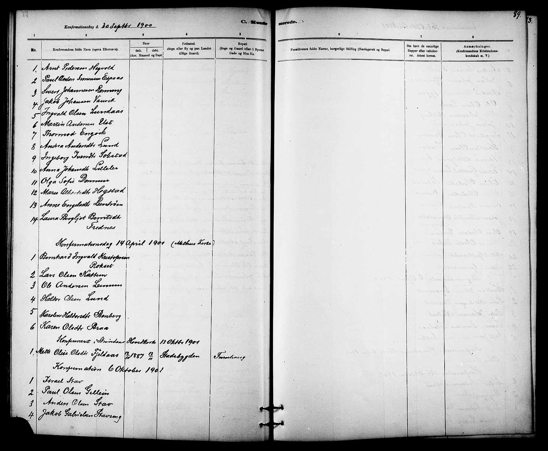 SAT, Ministerialprotokoller, klokkerbøker og fødselsregistre - Sør-Trøndelag, 613/L0395: Klokkerbok nr. 613C03, 1887-1909, s. 89