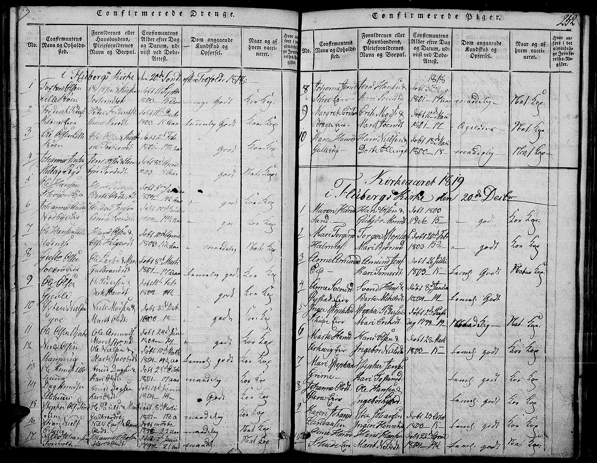 SAH, Land prestekontor, Ministerialbok nr. 7, 1814-1830, s. 252