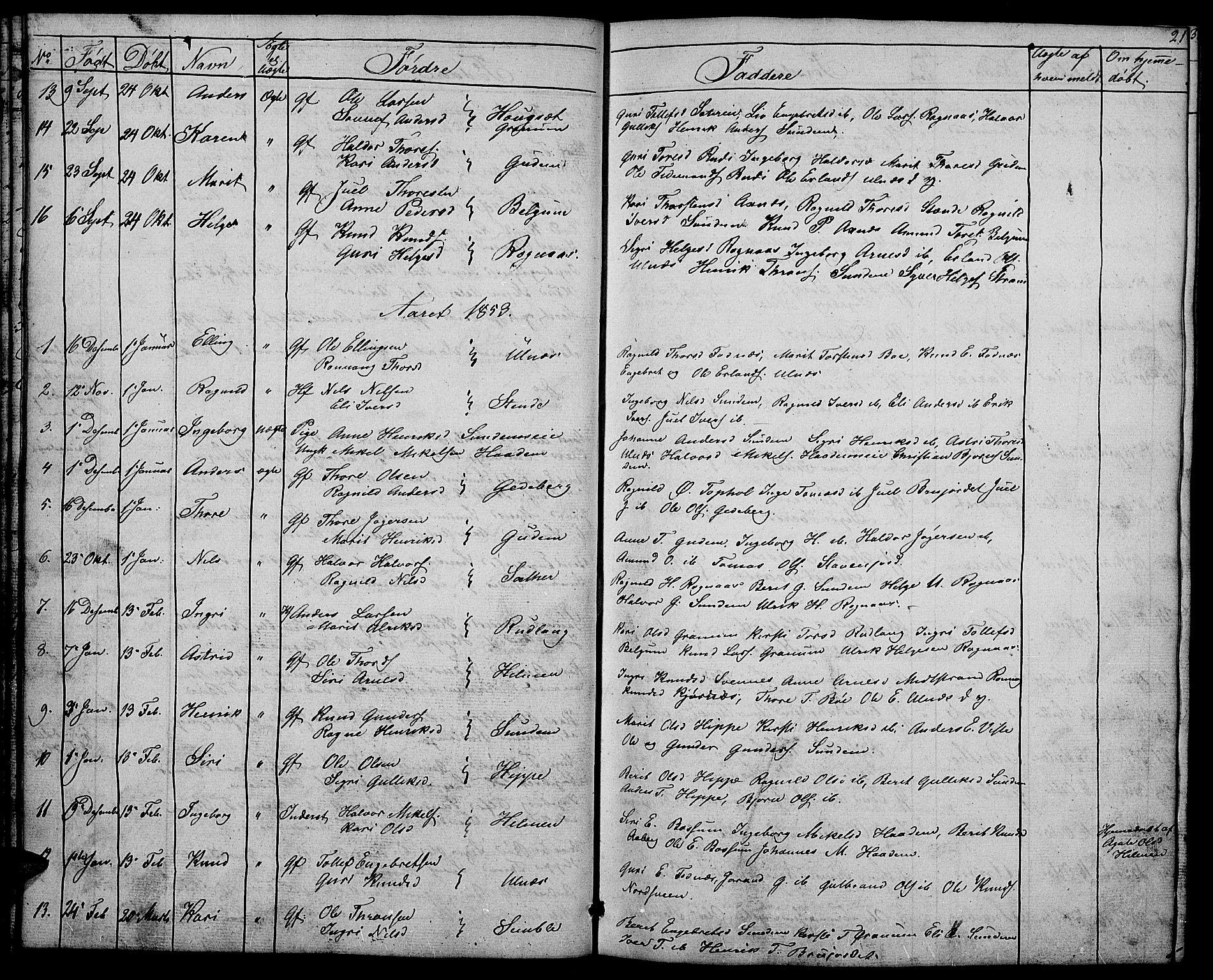 SAH, Nord-Aurdal prestekontor, Klokkerbok nr. 4, 1842-1882, s. 21