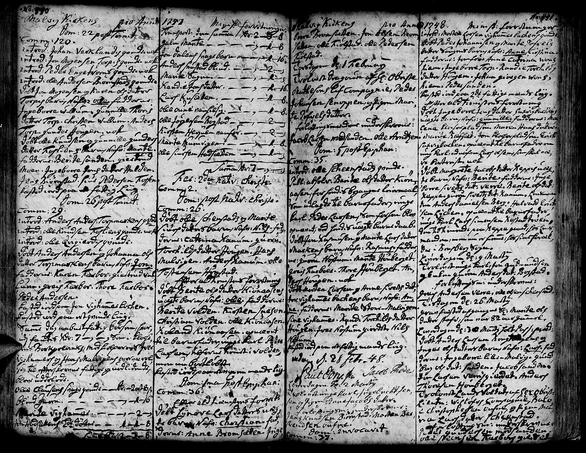 SAT, Ministerialprotokoller, klokkerbøker og fødselsregistre - Sør-Trøndelag, 606/L0277: Ministerialbok nr. 606A01 /3, 1727-1780, s. 440-441
