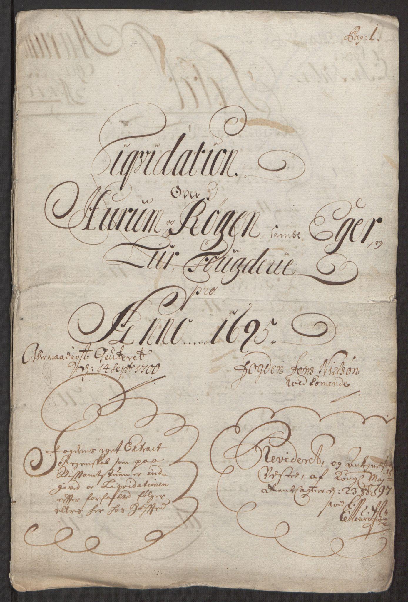 RA, Rentekammeret inntil 1814, Reviderte regnskaper, Fogderegnskap, R30/L1694: Fogderegnskap Hurum, Røyken, Eiker og Lier, 1694-1696, s. 151