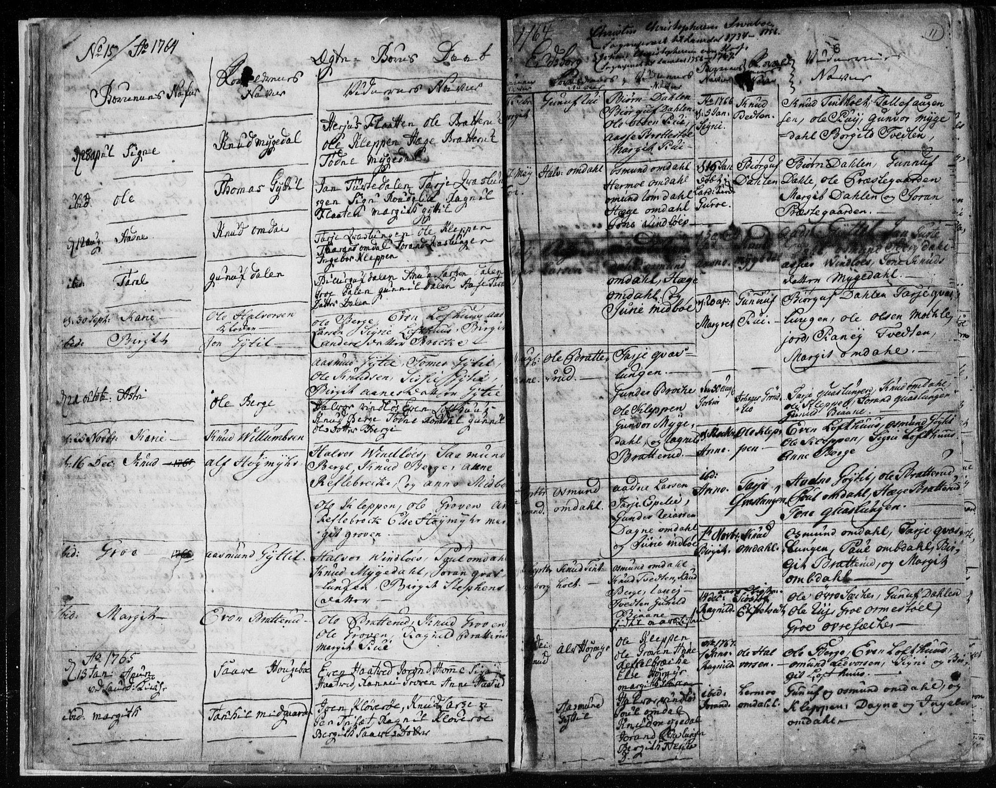 SAKO, Lårdal kirkebøker, F/Fa/L0003: Ministerialbok nr. I 3, 1754-1790, s. 11