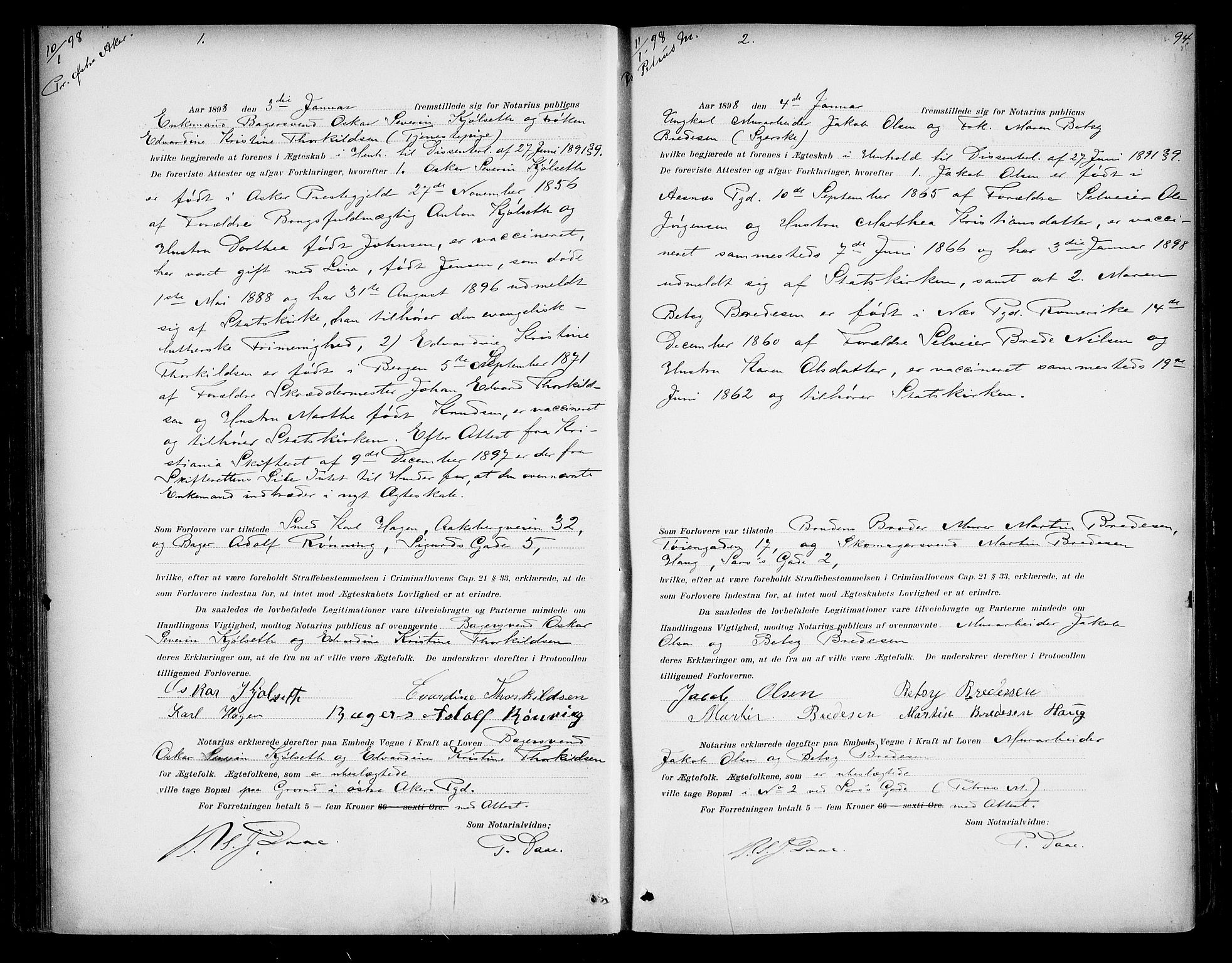 SAO, Oslo byfogd avd. I, L/Lb/Lbb/L0005: Notarialprotokoll, rekke II: Vigsler, 1897-1902, s. 93b-94a