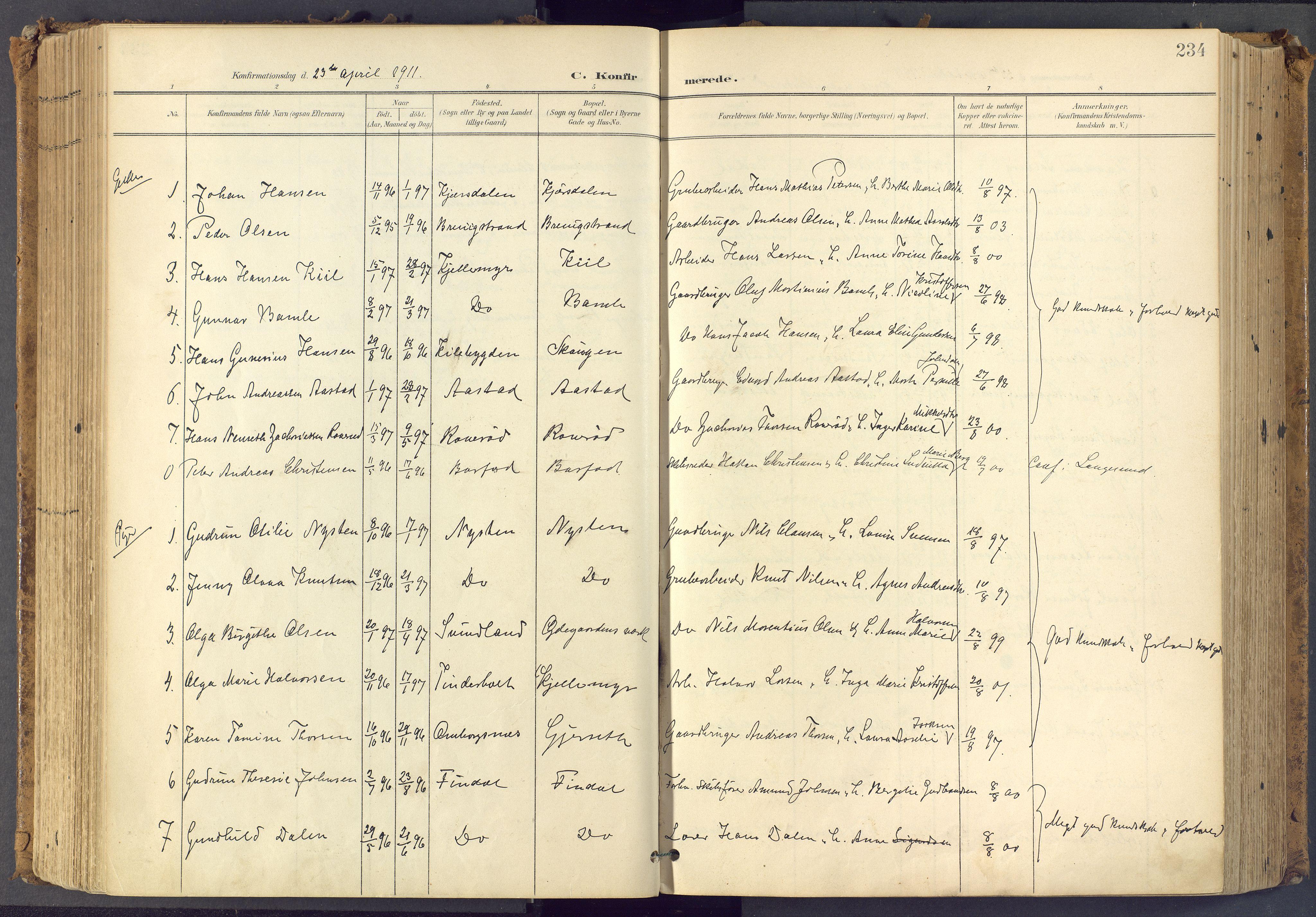 SAKO, Bamble kirkebøker, F/Fa/L0009: Ministerialbok nr. I 9, 1901-1917, s. 234