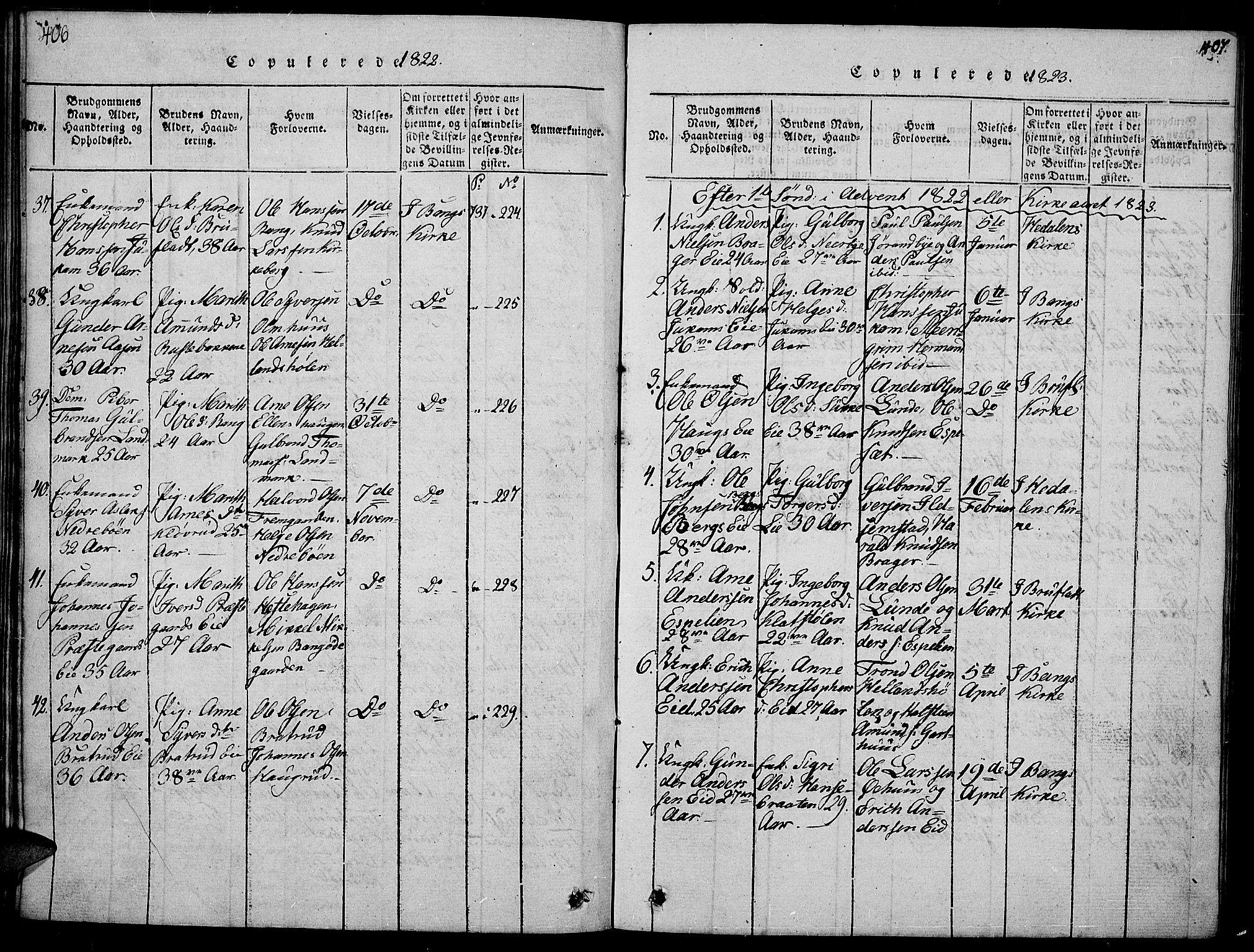 SAH, Sør-Aurdal prestekontor, Klokkerbok nr. 1, 1815-1826, s. 406-407