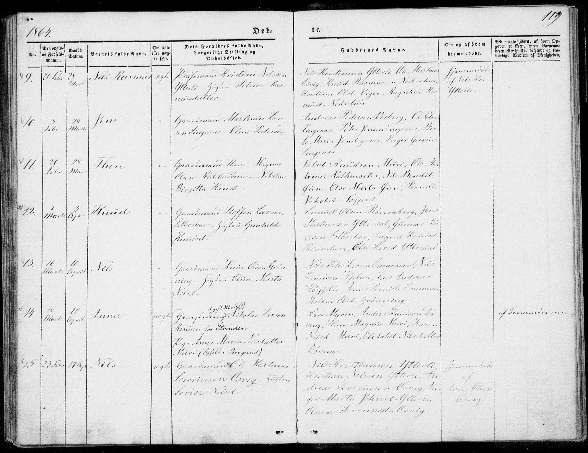 SAT, Ministerialprotokoller, klokkerbøker og fødselsregistre - Møre og Romsdal, 519/L0249: Ministerialbok nr. 519A08, 1846-1868, s. 119