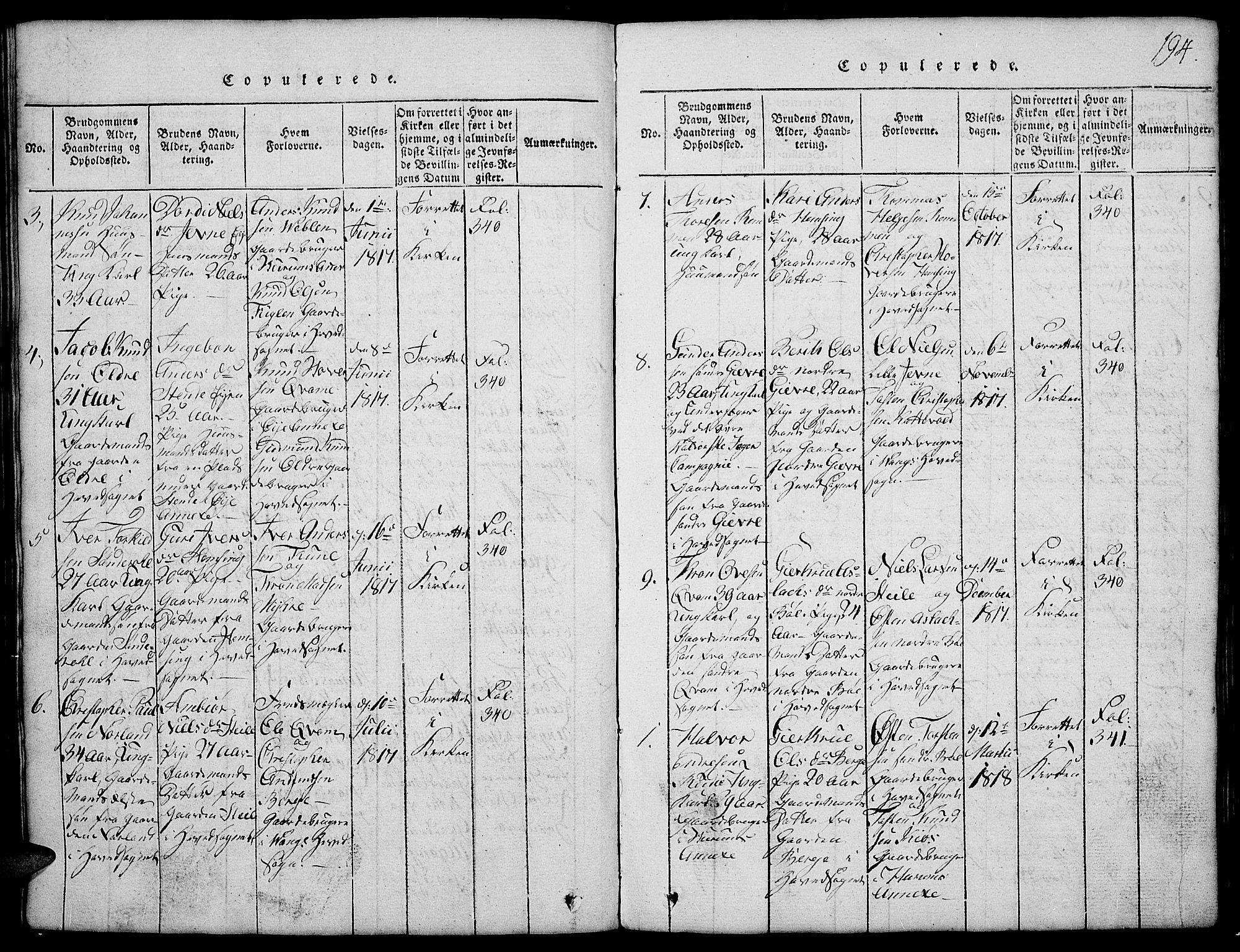 SAH, Vang prestekontor, Valdres, Klokkerbok nr. 2, 1814-1889, s. 194