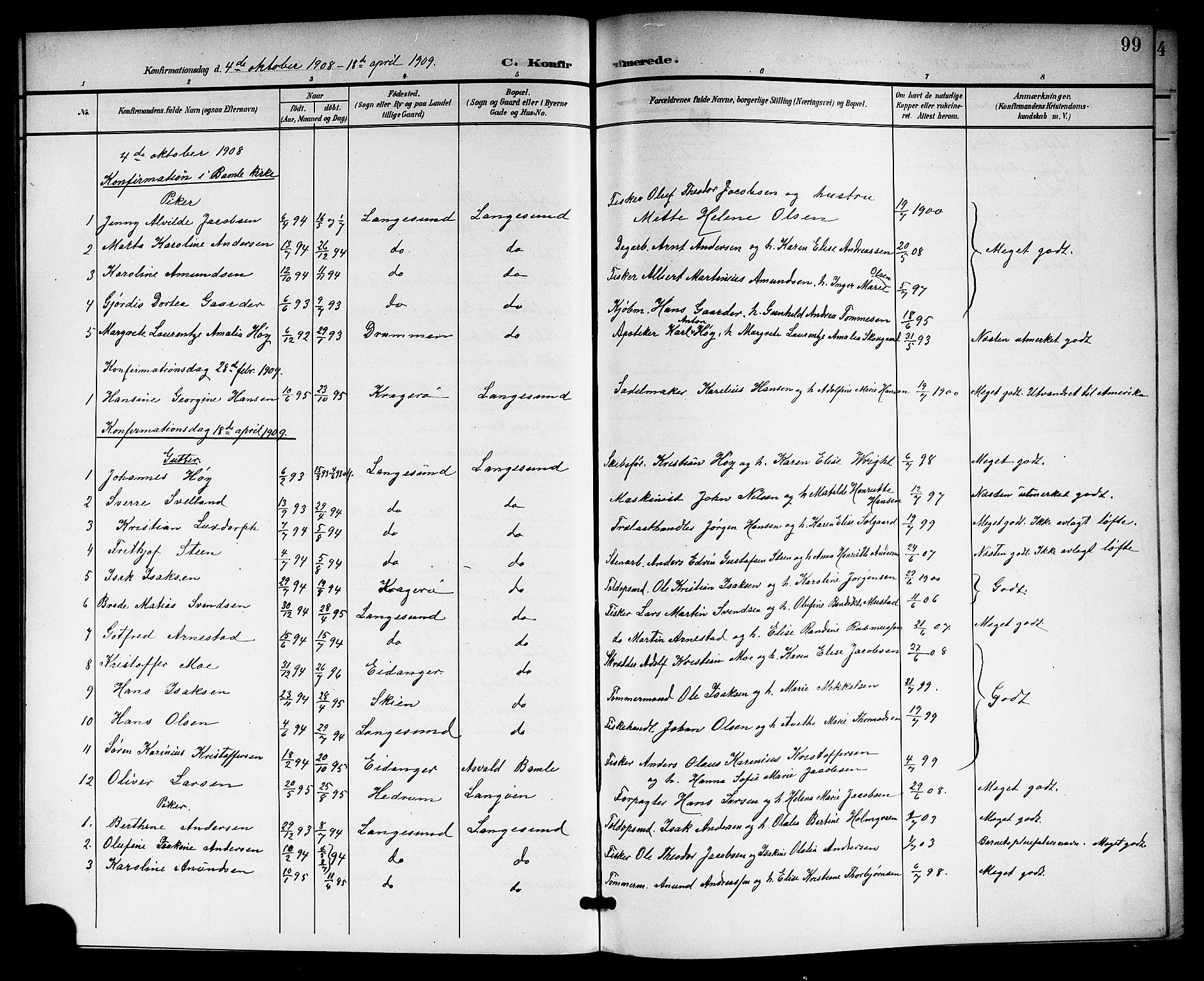 SAKO, Langesund kirkebøker, G/Ga/L0006: Klokkerbok nr. 6, 1899-1918, s. 99