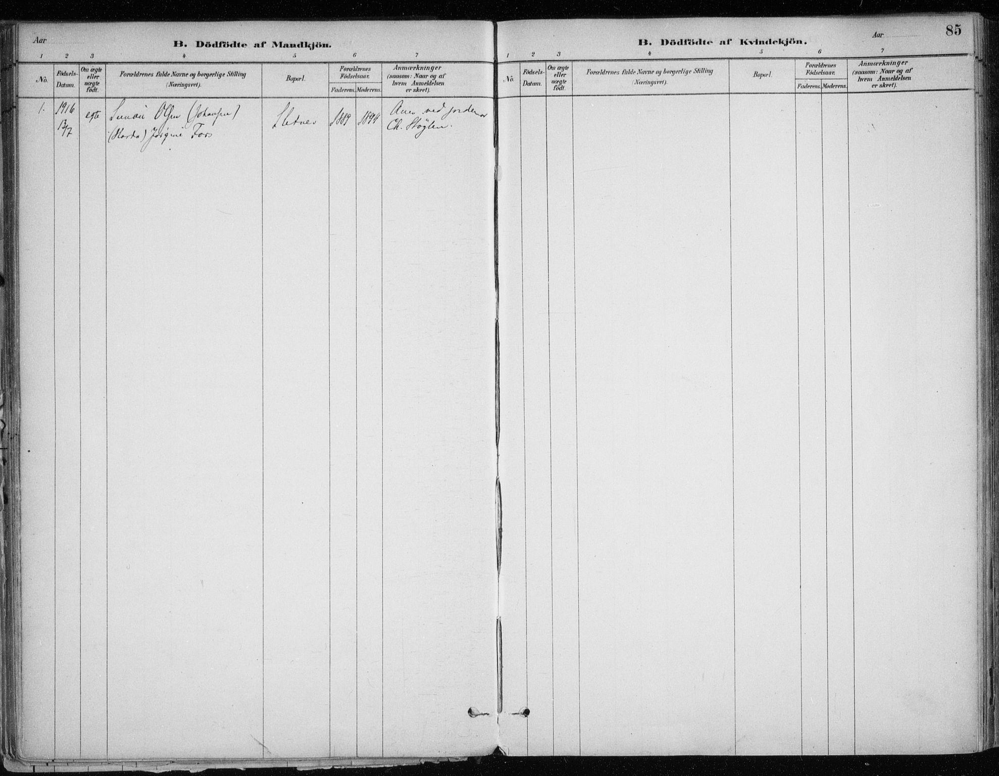 SATØ, Hammerfest sokneprestkontor, H/Ha/L0013.kirke: Ministerialbok nr. 13, 1898-1917, s. 85