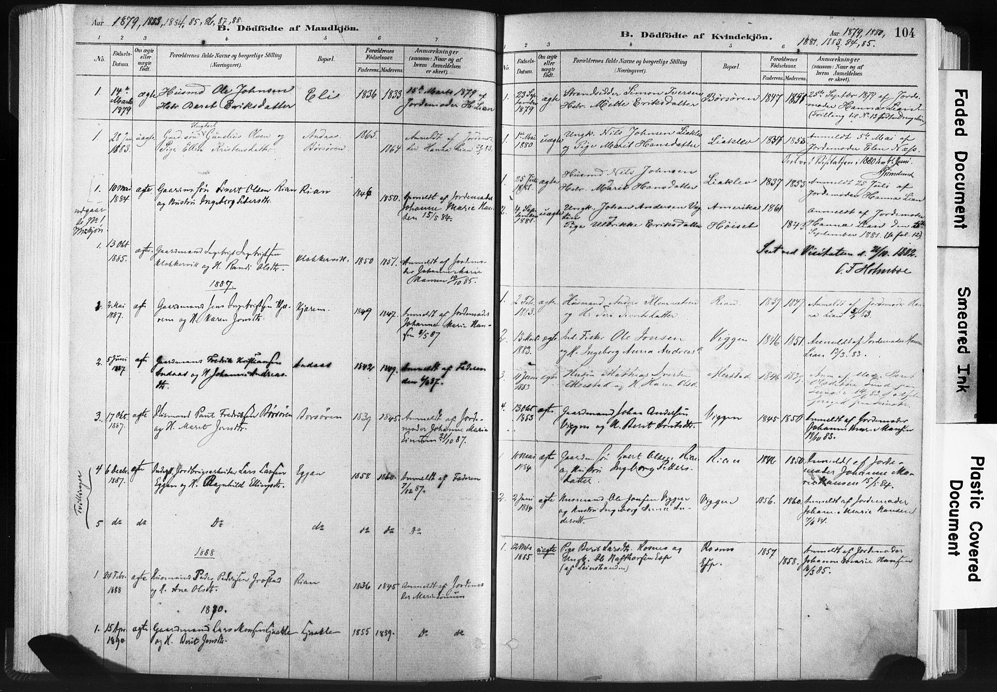 SAT, Ministerialprotokoller, klokkerbøker og fødselsregistre - Sør-Trøndelag, 665/L0773: Ministerialbok nr. 665A08, 1879-1905, s. 104
