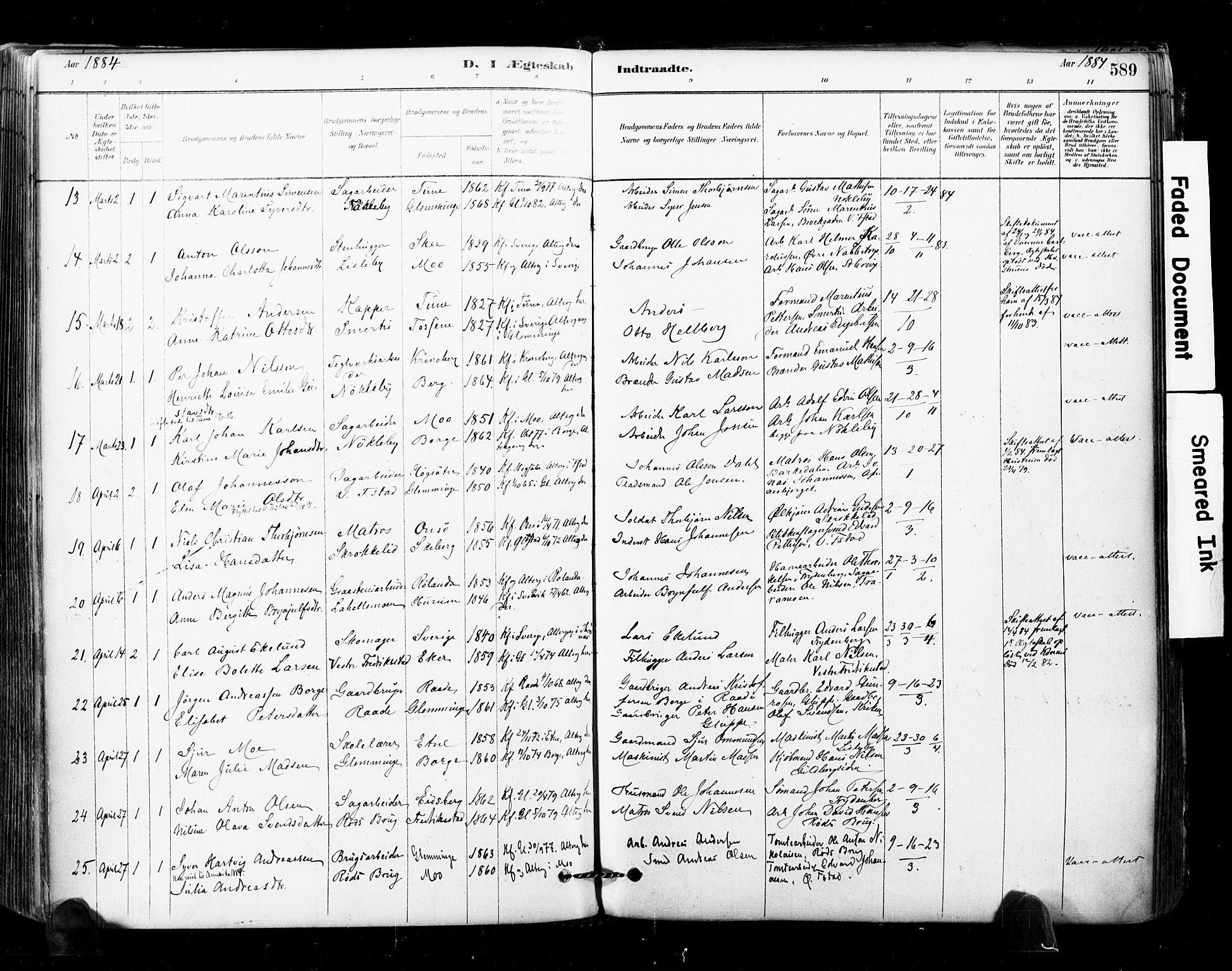 SAO, Glemmen prestekontor Kirkebøker, F/Fa/L0011: Ministerialbok nr. 11, 1878-1917, s. 589