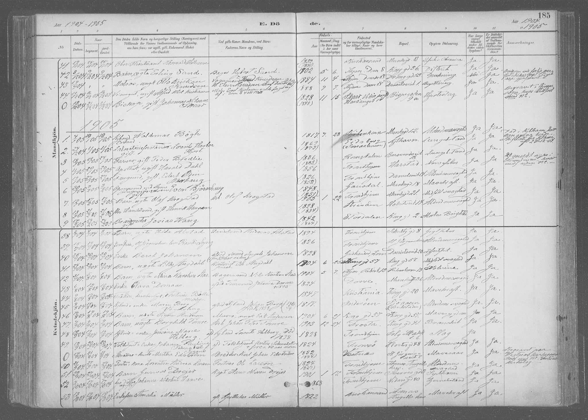 SAT, Ministerialprotokoller, klokkerbøker og fødselsregistre - Sør-Trøndelag, 601/L0064: Ministerialbok nr. 601A31, 1891-1911, s. 185