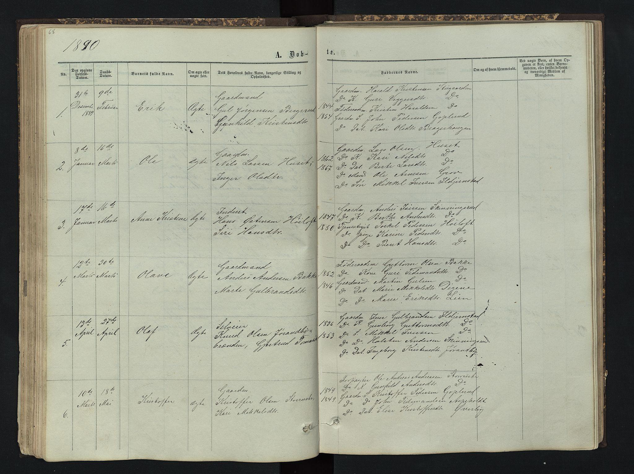 SAH, Sør-Aurdal prestekontor, Klokkerbok nr. 4, 1865-1893, s. 68