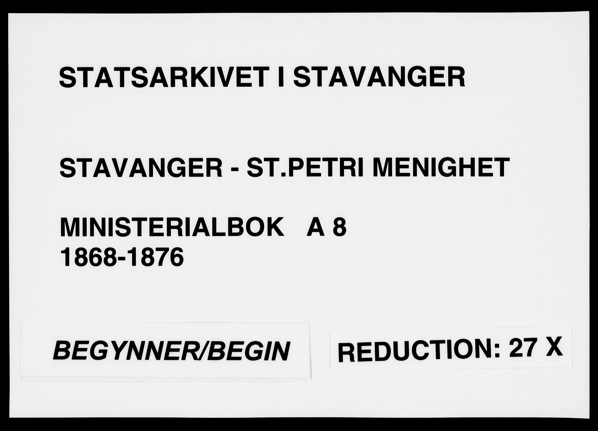 SAST, St. Petri sokneprestkontor, 30/30BA/L0008: Ministerialbok nr. A 8, 1868-1876