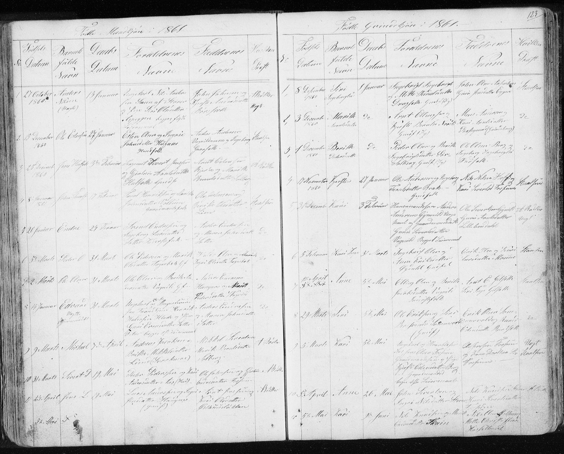 SAT, Ministerialprotokoller, klokkerbøker og fødselsregistre - Sør-Trøndelag, 689/L1043: Klokkerbok nr. 689C02, 1816-1892, s. 123