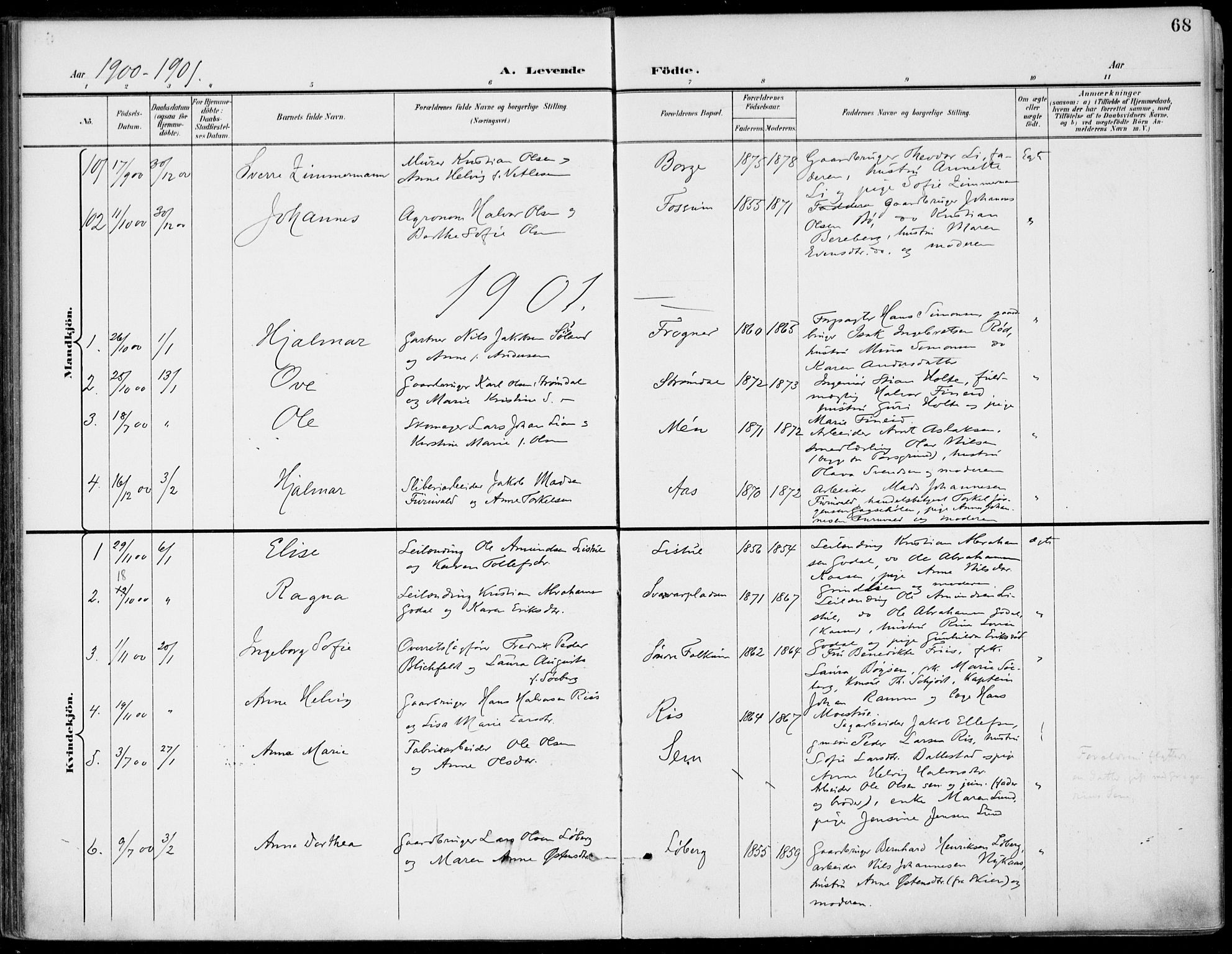 SAKO, Gjerpen kirkebøker, F/Fa/L0011: Ministerialbok nr. 11, 1896-1904, s. 68