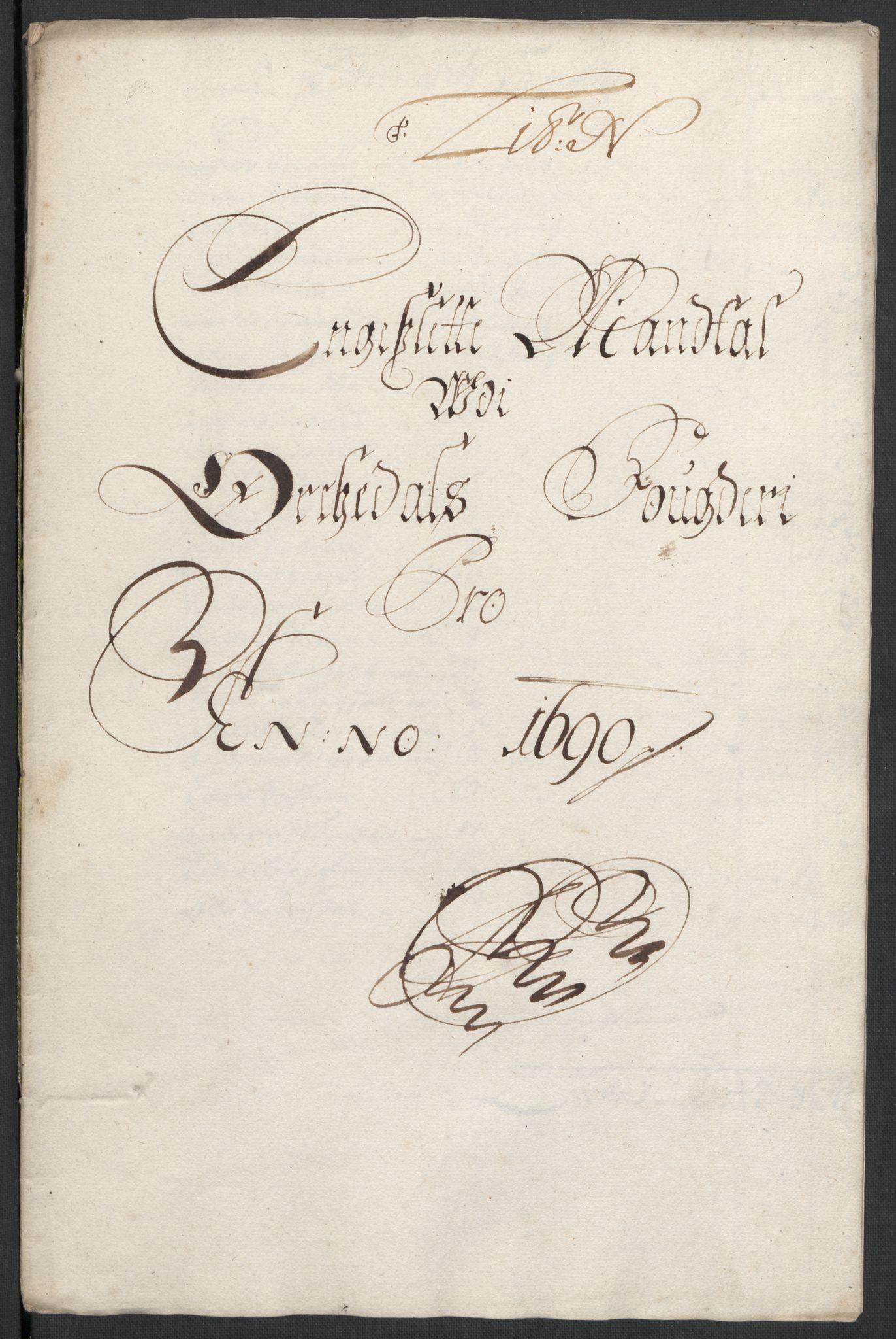 RA, Rentekammeret inntil 1814, Reviderte regnskaper, Fogderegnskap, R58/L3936: Fogderegnskap Orkdal, 1689-1690, s. 407