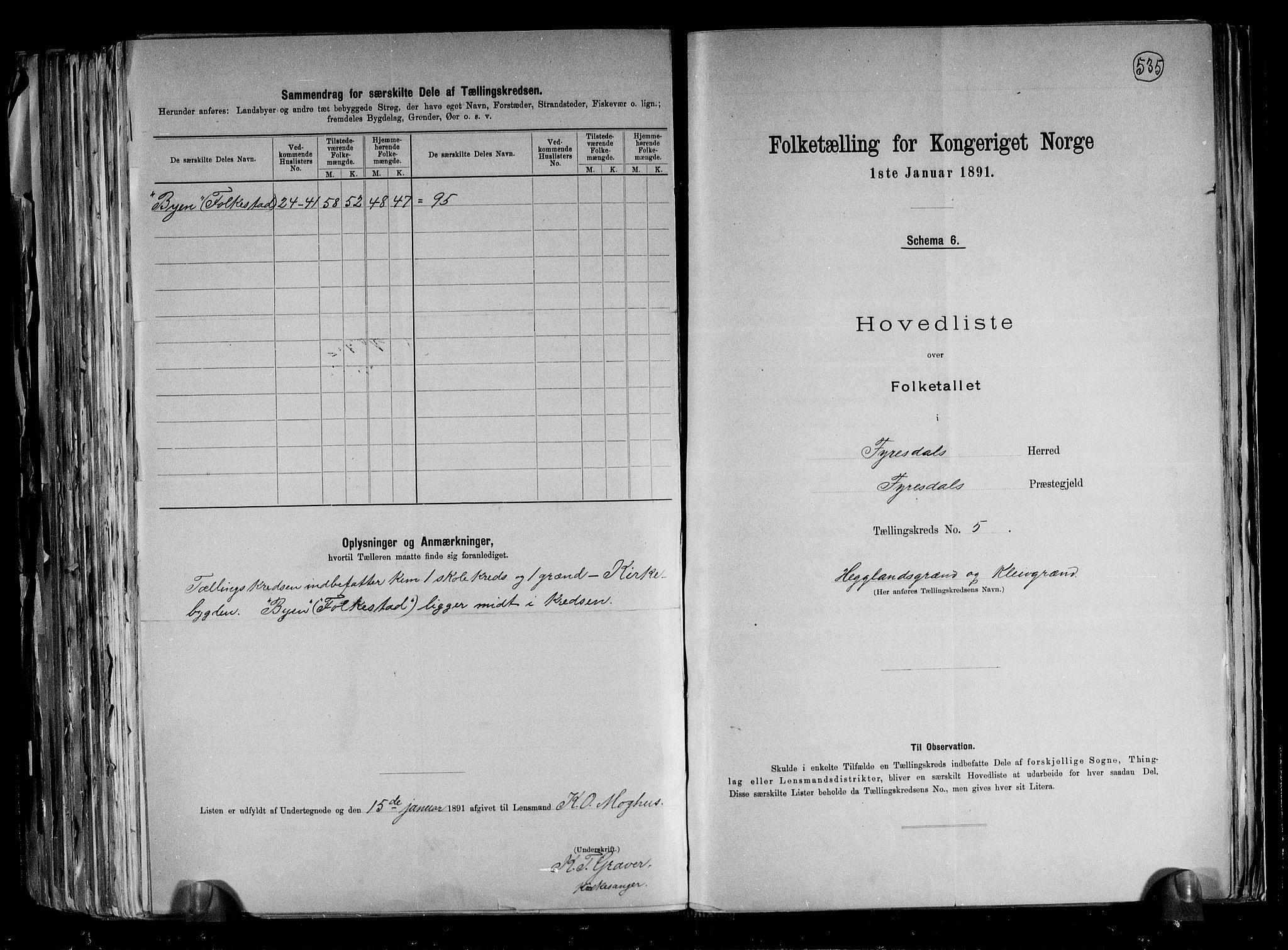RA, Folketelling 1891 for 0831 Fyresdal herred, 1891, s. 14