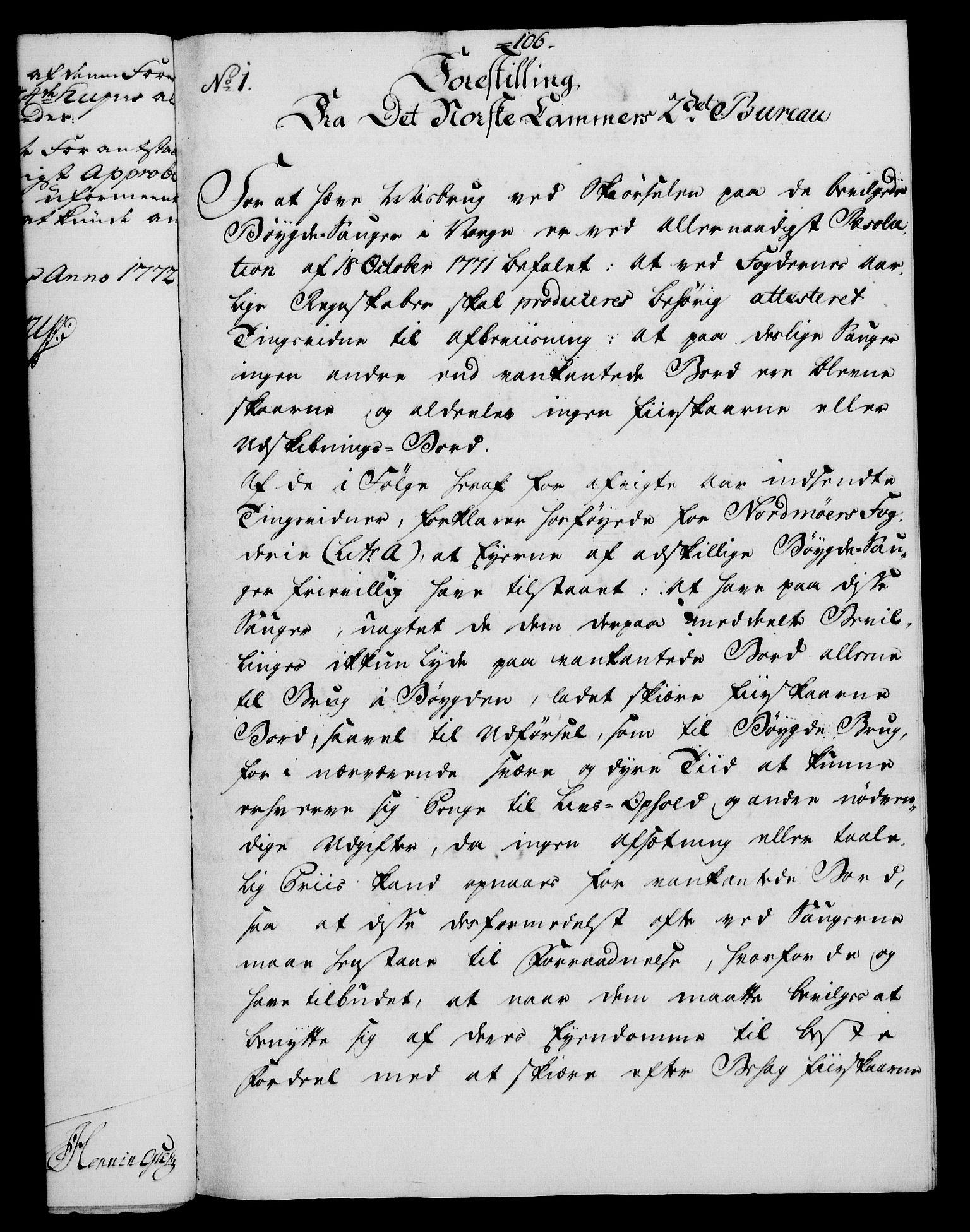 RA, Rentekammeret, Kammerkanselliet, G/Gf/Gfa/L0054: Norsk relasjons- og resolusjonsprotokoll (merket RK 52.54), 1771-1772, s. 615