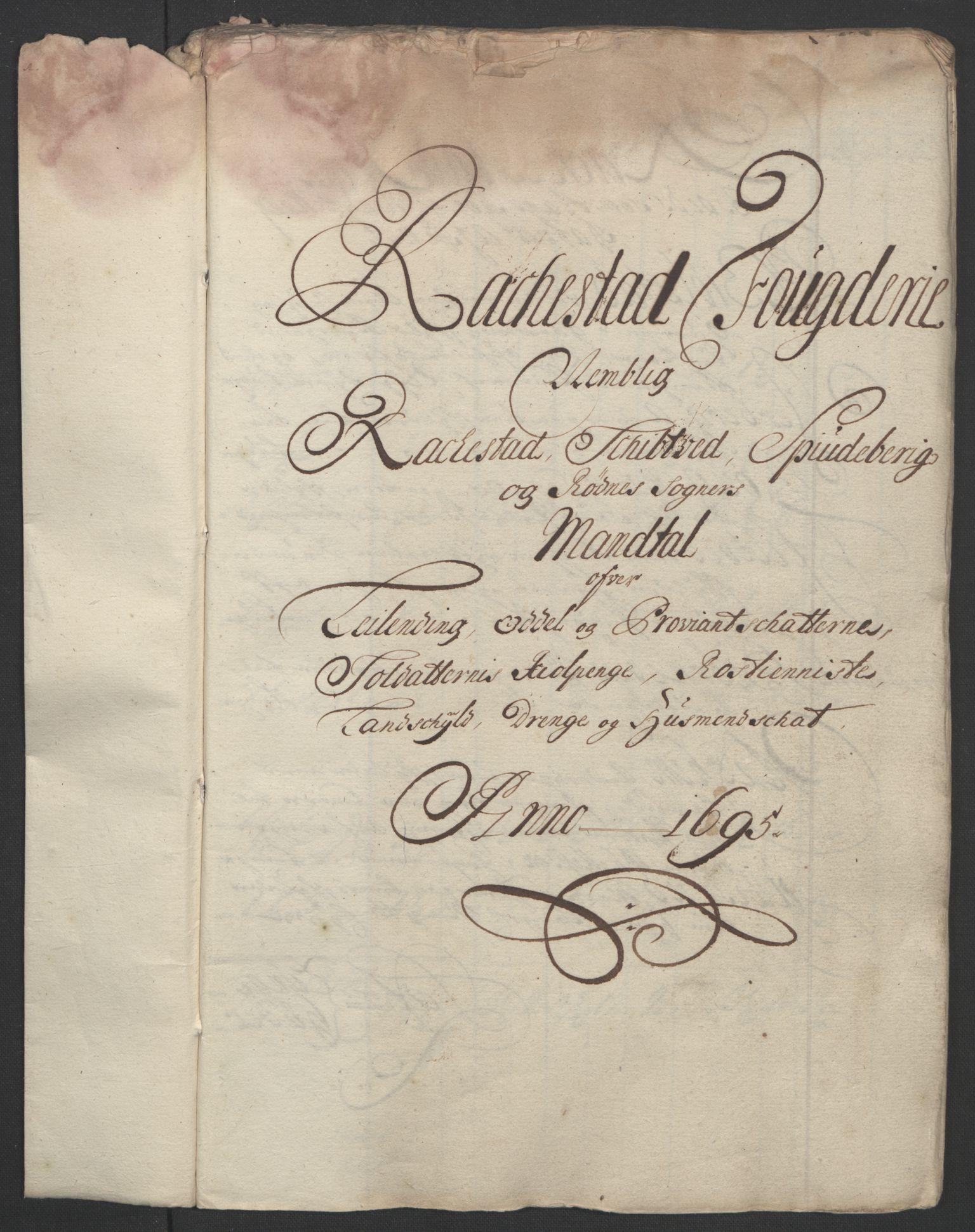 RA, Rentekammeret inntil 1814, Reviderte regnskaper, Fogderegnskap, R07/L0285: Fogderegnskap Rakkestad, Heggen og Frøland, 1695, s. 62
