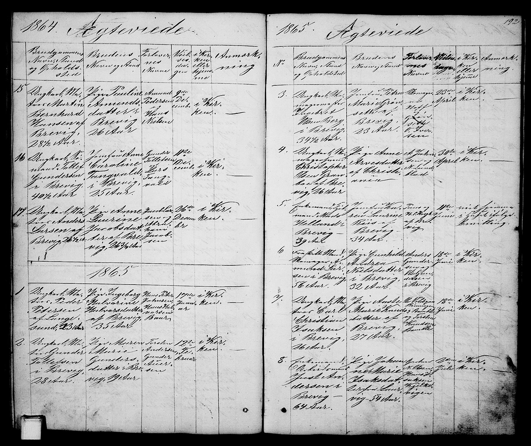 SAKO, Brevik kirkebøker, G/Ga/L0002: Klokkerbok nr. 2, 1846-1865, s. 192
