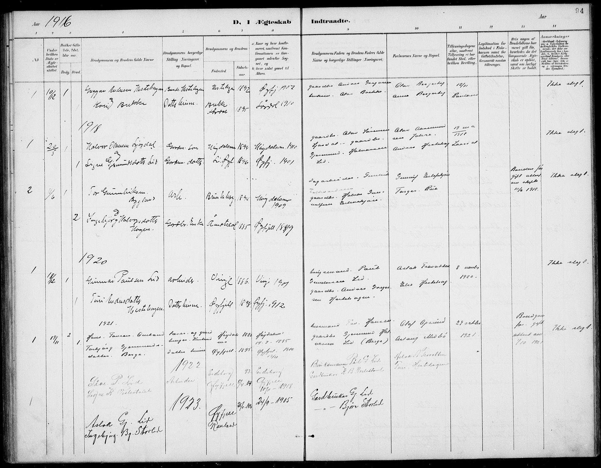 SAKO, Rauland kirkebøker, G/Gb/L0002: Klokkerbok nr. II 2, 1887-1937, s. 94