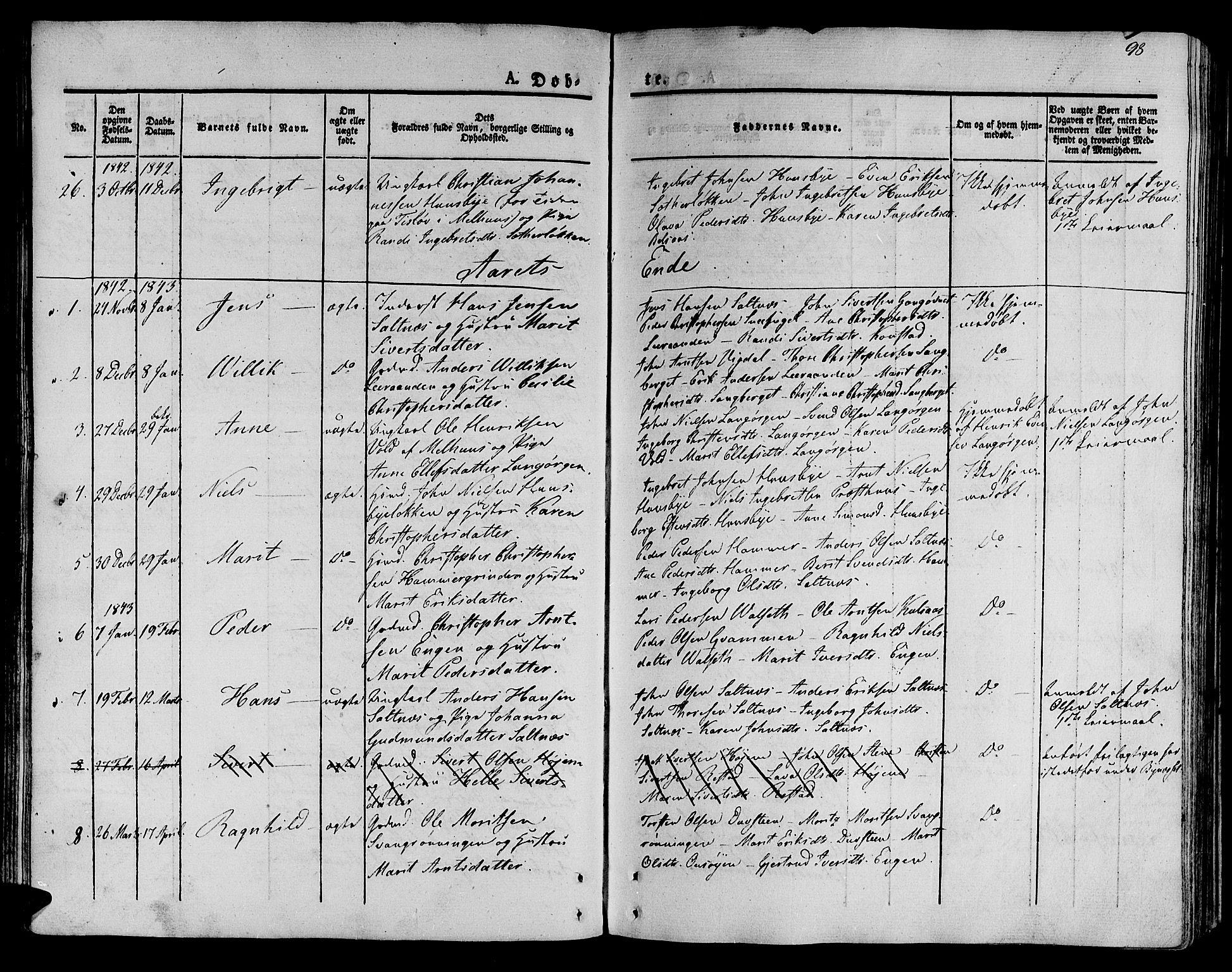 SAT, Ministerialprotokoller, klokkerbøker og fødselsregistre - Sør-Trøndelag, 612/L0375: Ministerialbok nr. 612A07 /2, 1829-1845, s. 98
