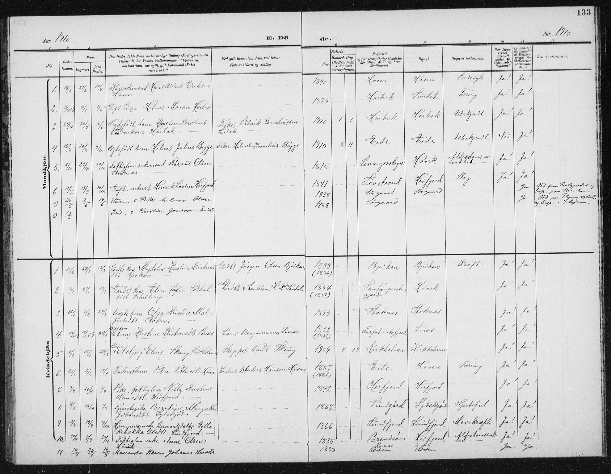 SAT, Ministerialprotokoller, klokkerbøker og fødselsregistre - Sør-Trøndelag, 656/L0699: Klokkerbok nr. 656C05, 1905-1920, s. 133