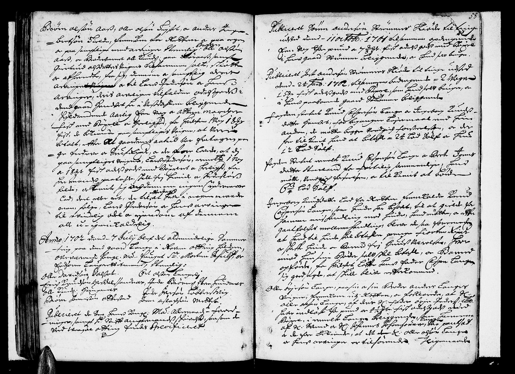 SAT, Romsdal sorenskriveri, 1/1A/L0004: Tingbok, 1700-1705, s. 57b-58a
