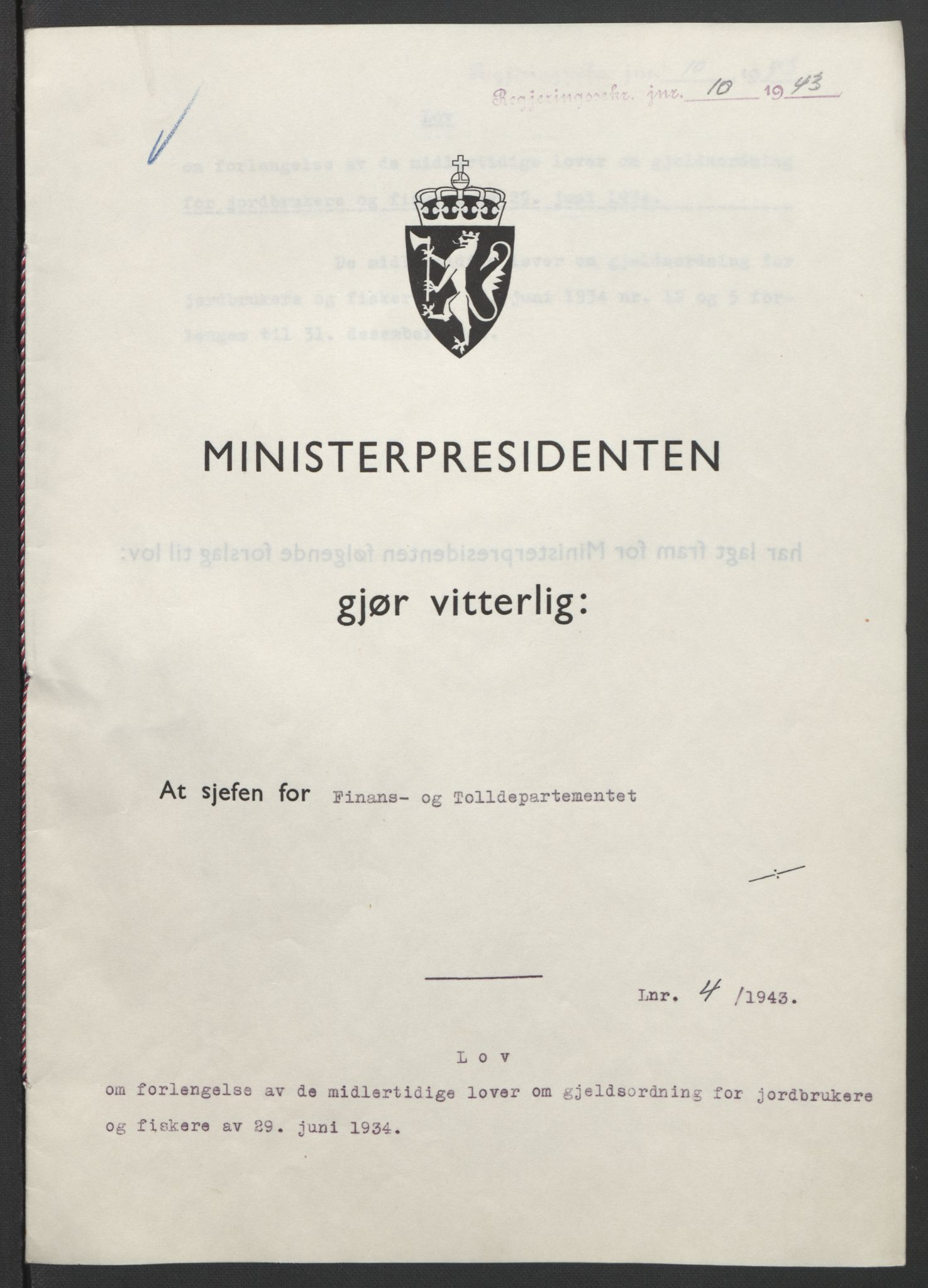 RA, NS-administrasjonen 1940-1945 (Statsrådsekretariatet, de kommisariske statsråder mm), D/Db/L0099: Lover, 1943, s. 18