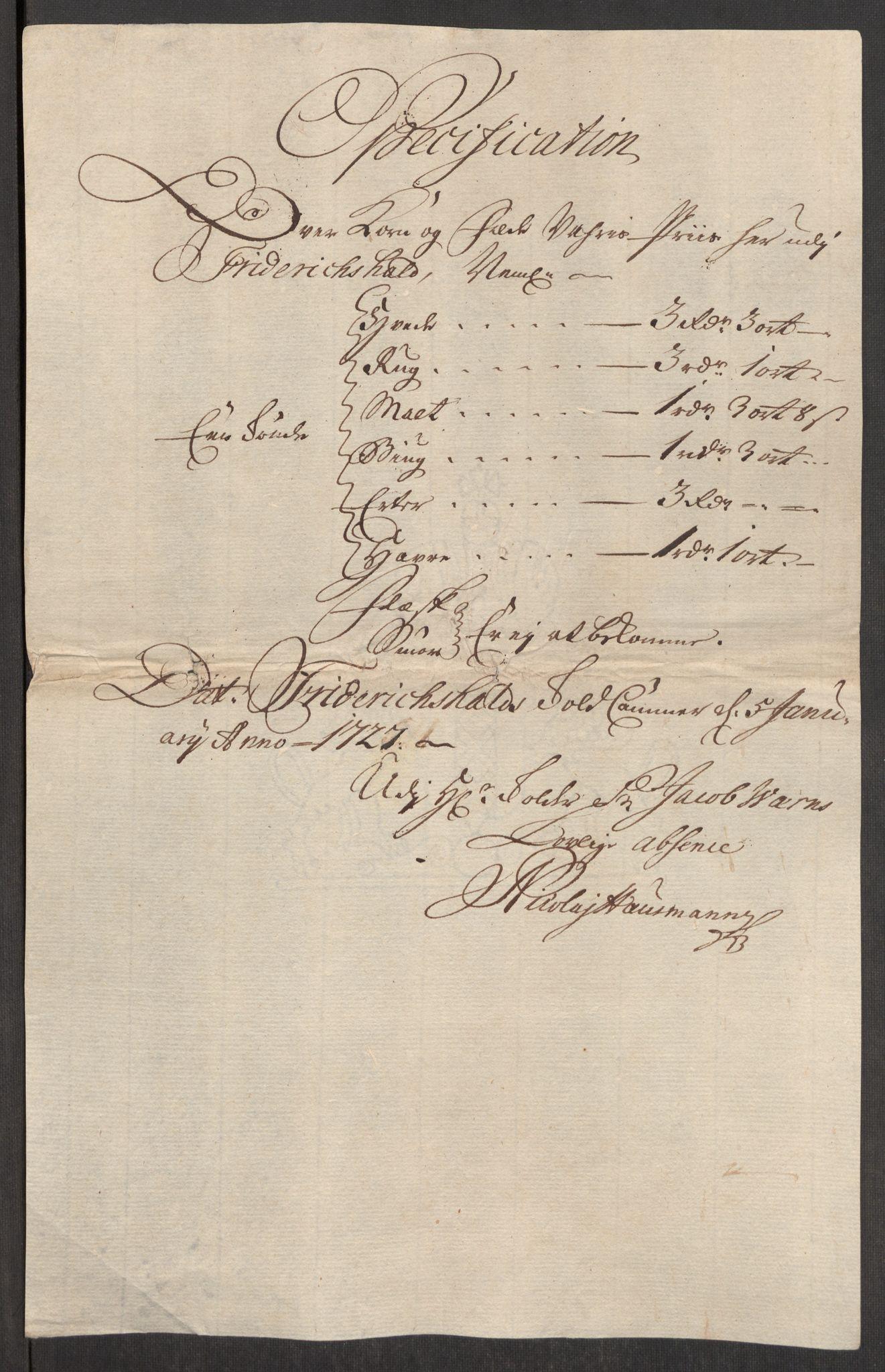 RA, Rentekammeret inntil 1814, Realistisk ordnet avdeling, Oe/L0001: [Ø1]: Priskuranter, 1712-1739, s. 284