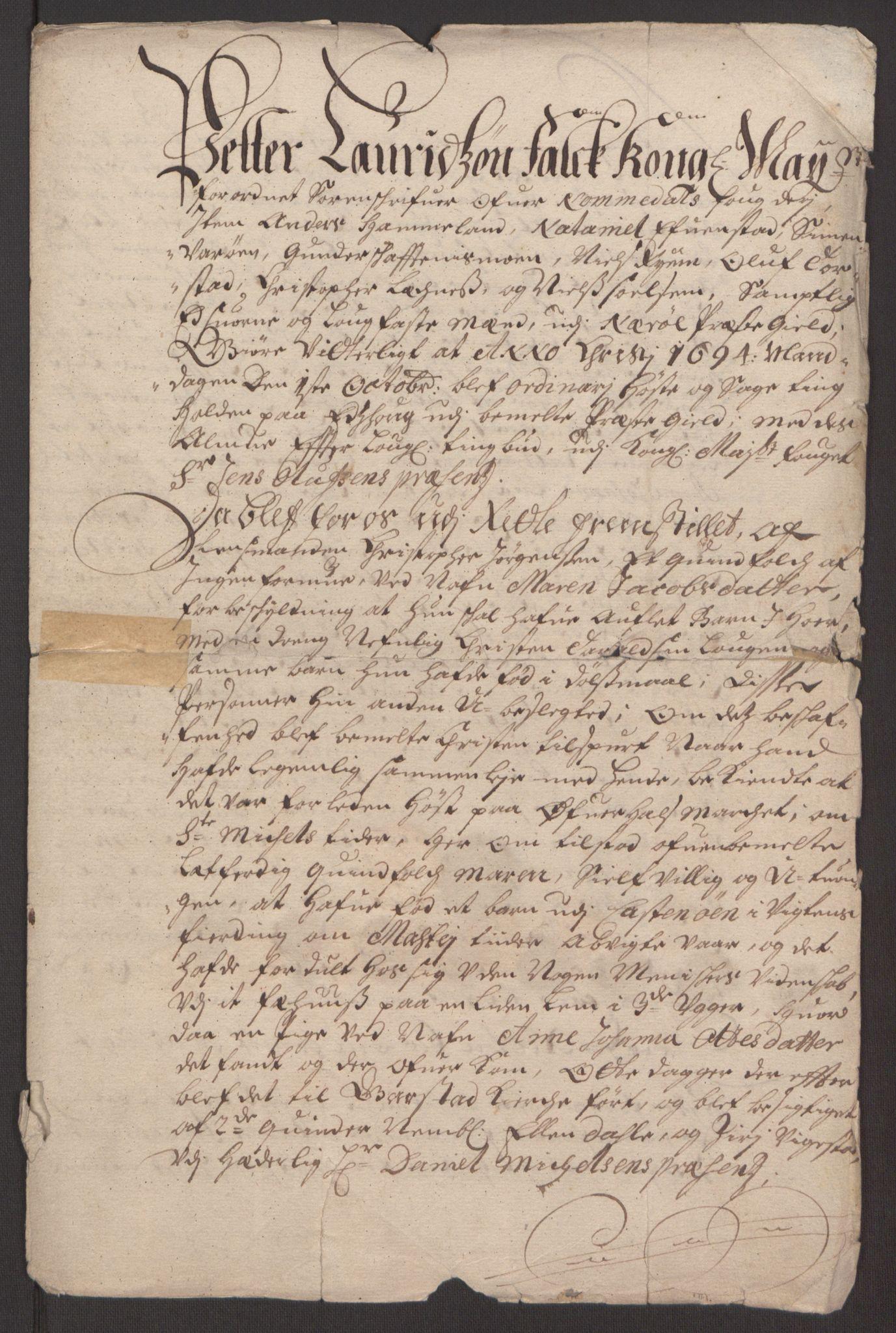 RA, Rentekammeret inntil 1814, Reviderte regnskaper, Fogderegnskap, R64/L4424: Fogderegnskap Namdal, 1692-1695, s. 447
