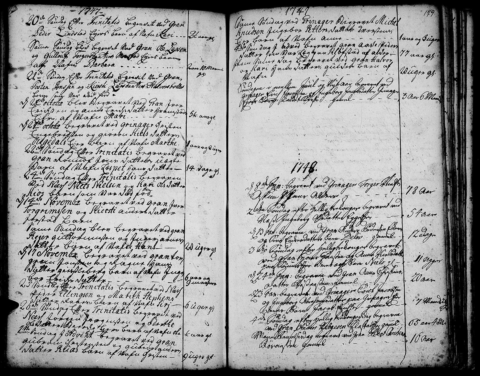 SAH, Gran prestekontor, Ministerialbok nr. 3, 1745-1758, s. 179
