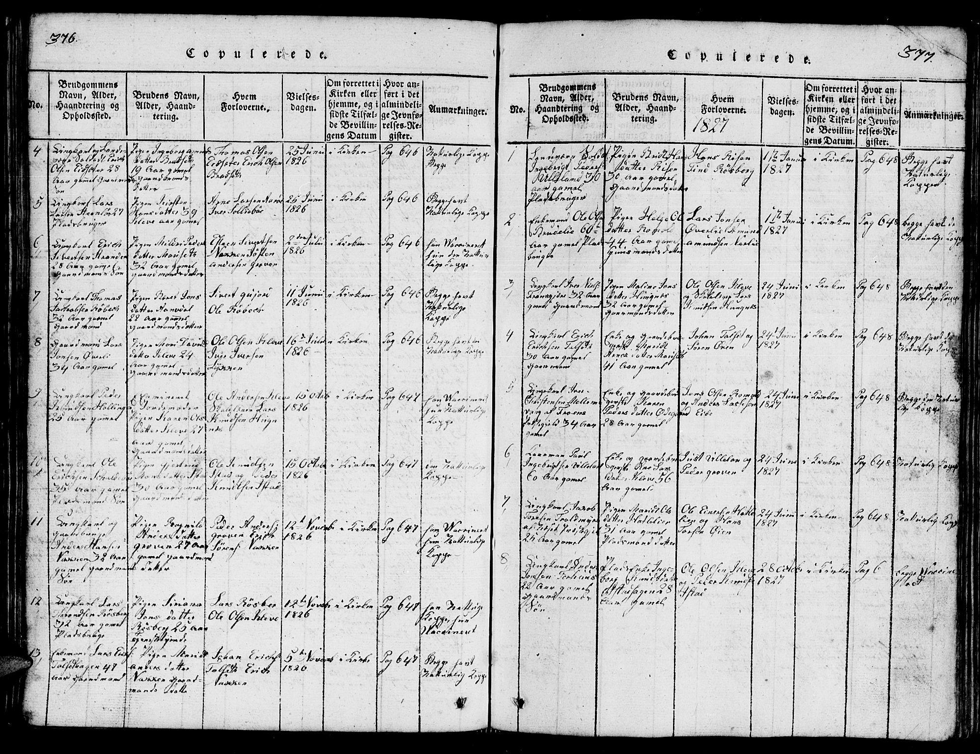 SAT, Ministerialprotokoller, klokkerbøker og fødselsregistre - Møre og Romsdal, 557/L0683: Klokkerbok nr. 557C01, 1818-1862, s. 376-377