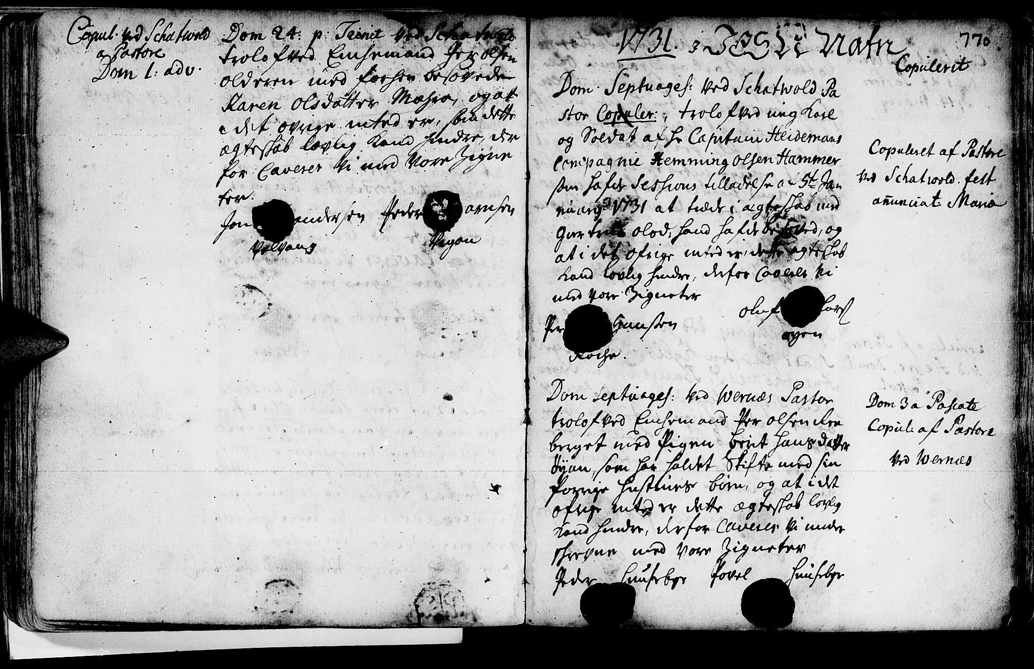SAT, Ministerialprotokoller, klokkerbøker og fødselsregistre - Nord-Trøndelag, 709/L0055: Ministerialbok nr. 709A03, 1730-1739, s. 769-770