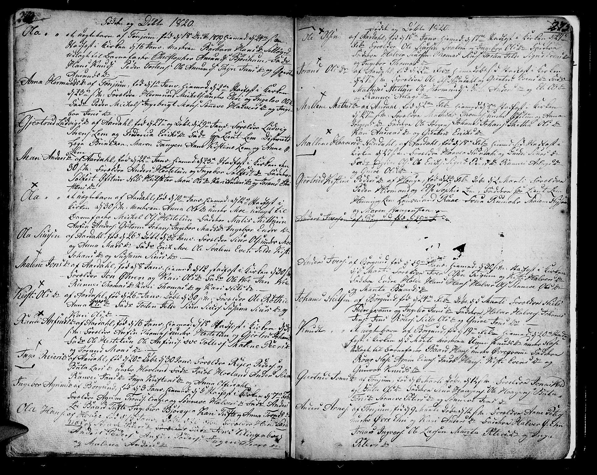 SAB, Lærdal sokneprestembete, Ministerialbok nr. A 4, 1805-1821, s. 274-275