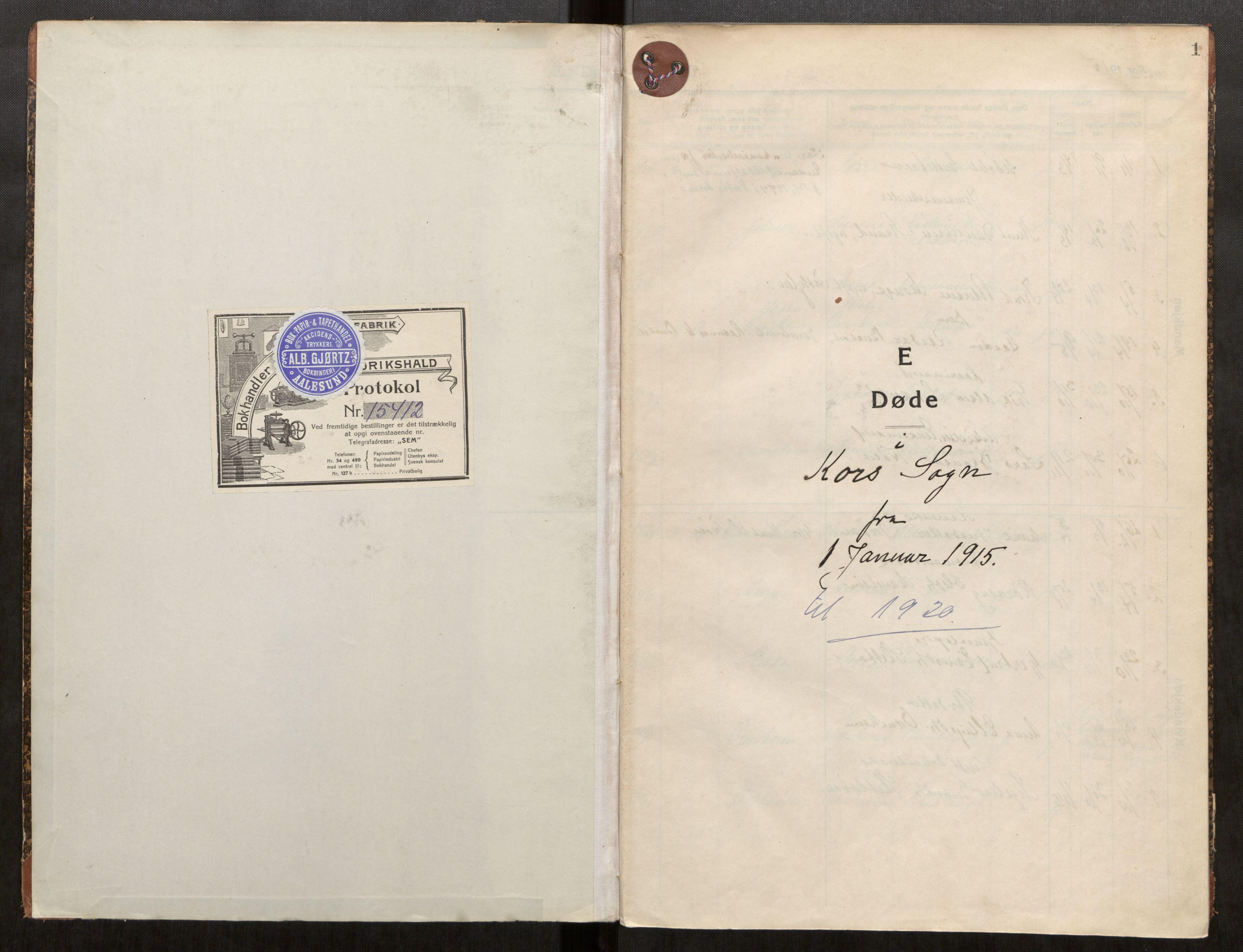 SAT, Grytten sokneprestkontor, Ministerialbok nr. 546A05, 1915-1920, s. 1