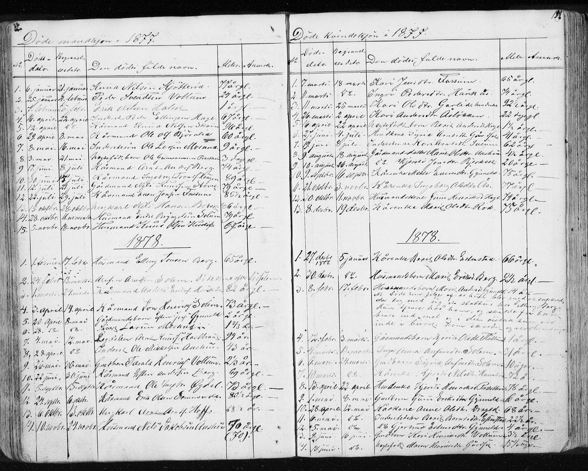 SAT, Ministerialprotokoller, klokkerbøker og fødselsregistre - Sør-Trøndelag, 689/L1043: Klokkerbok nr. 689C02, 1816-1892, s. 189