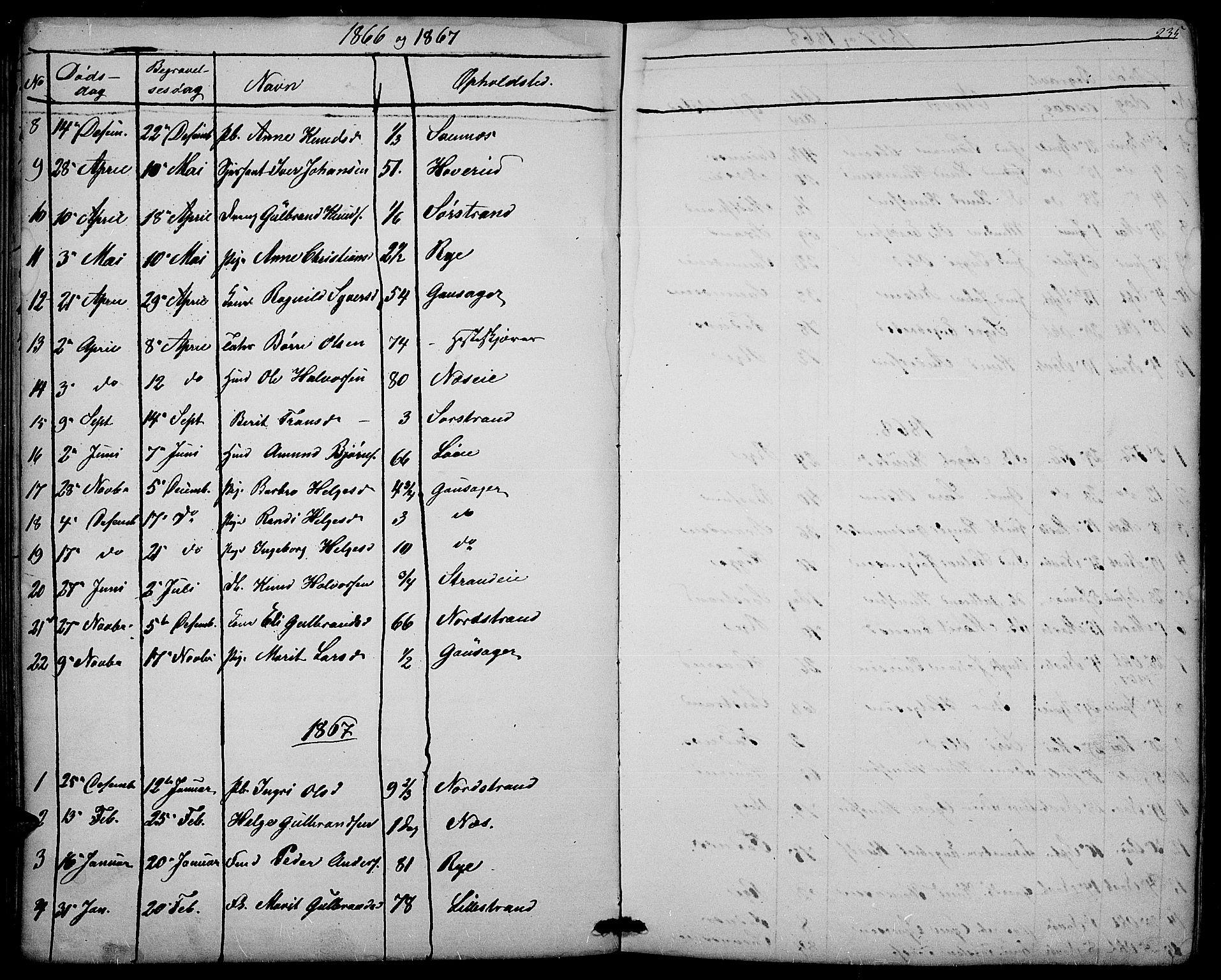 SAH, Nord-Aurdal prestekontor, Klokkerbok nr. 3, 1842-1882, s. 235